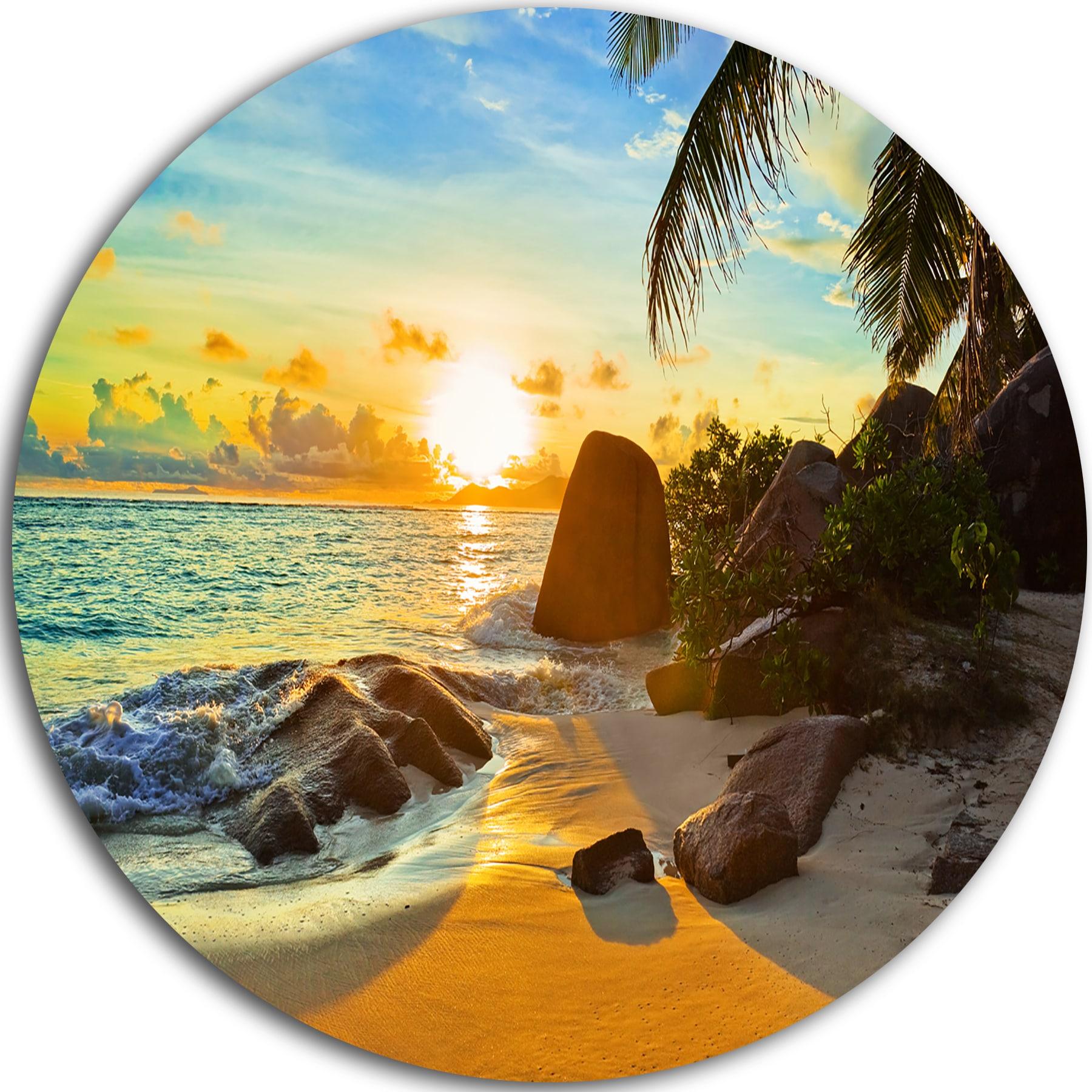 Shop Designart \'Sunset in Tropical Beach\' Landscape Photo Large Disc ...
