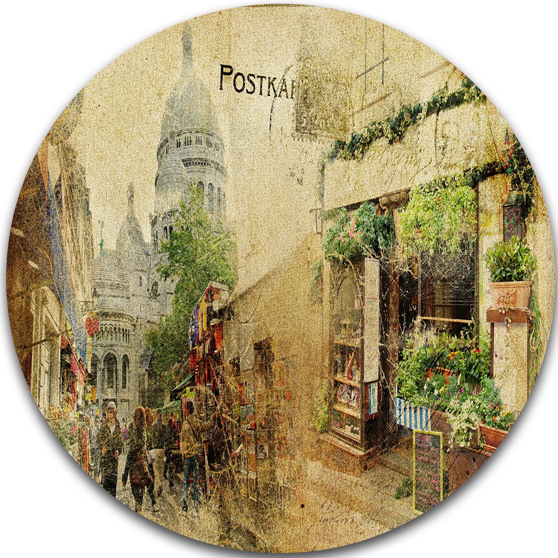 Designart Vintage Parisian Cards Contemporary Round Metal Wall Art