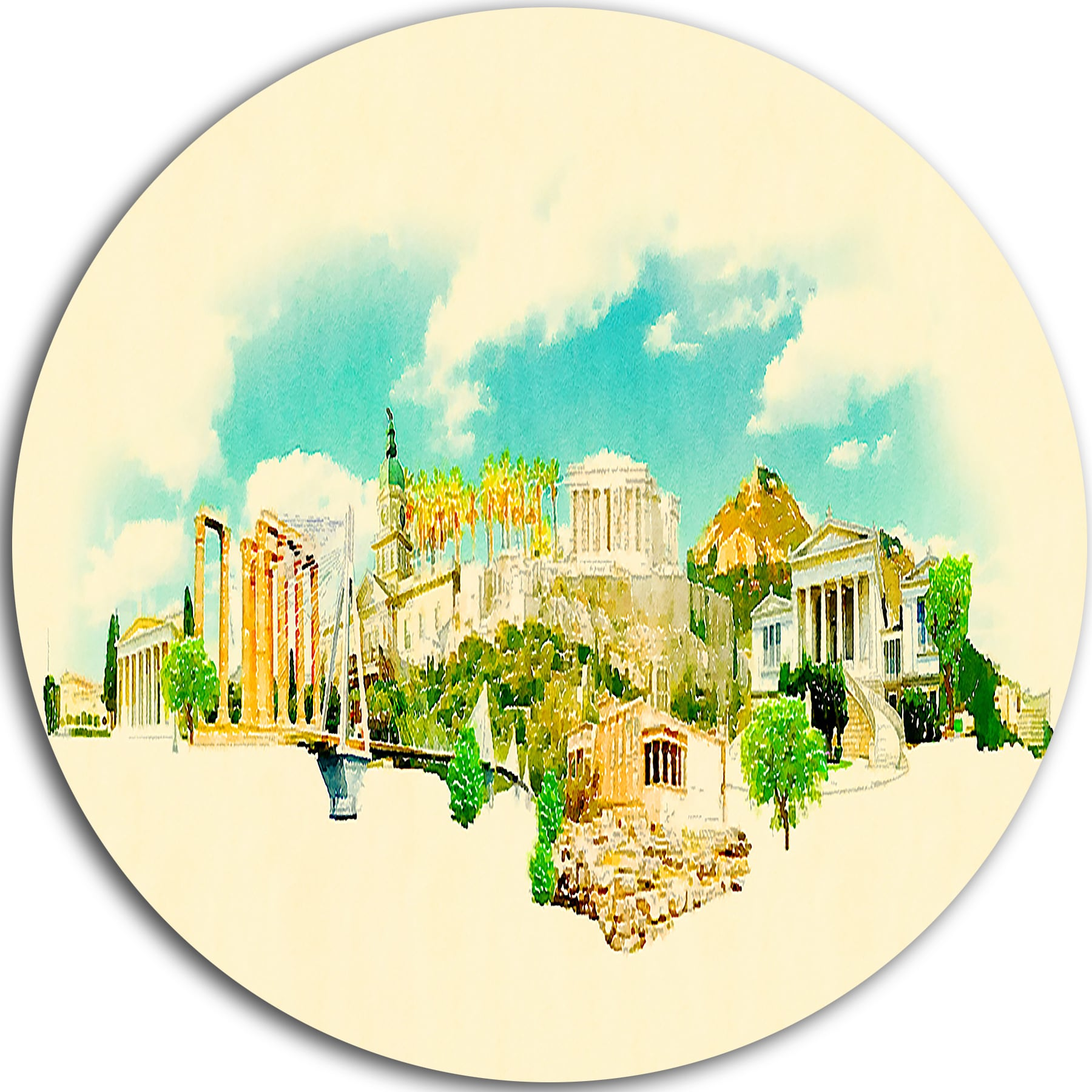 Designart \'Athens Panoramic View\' Cityscape Watercolor Disc Metal ...