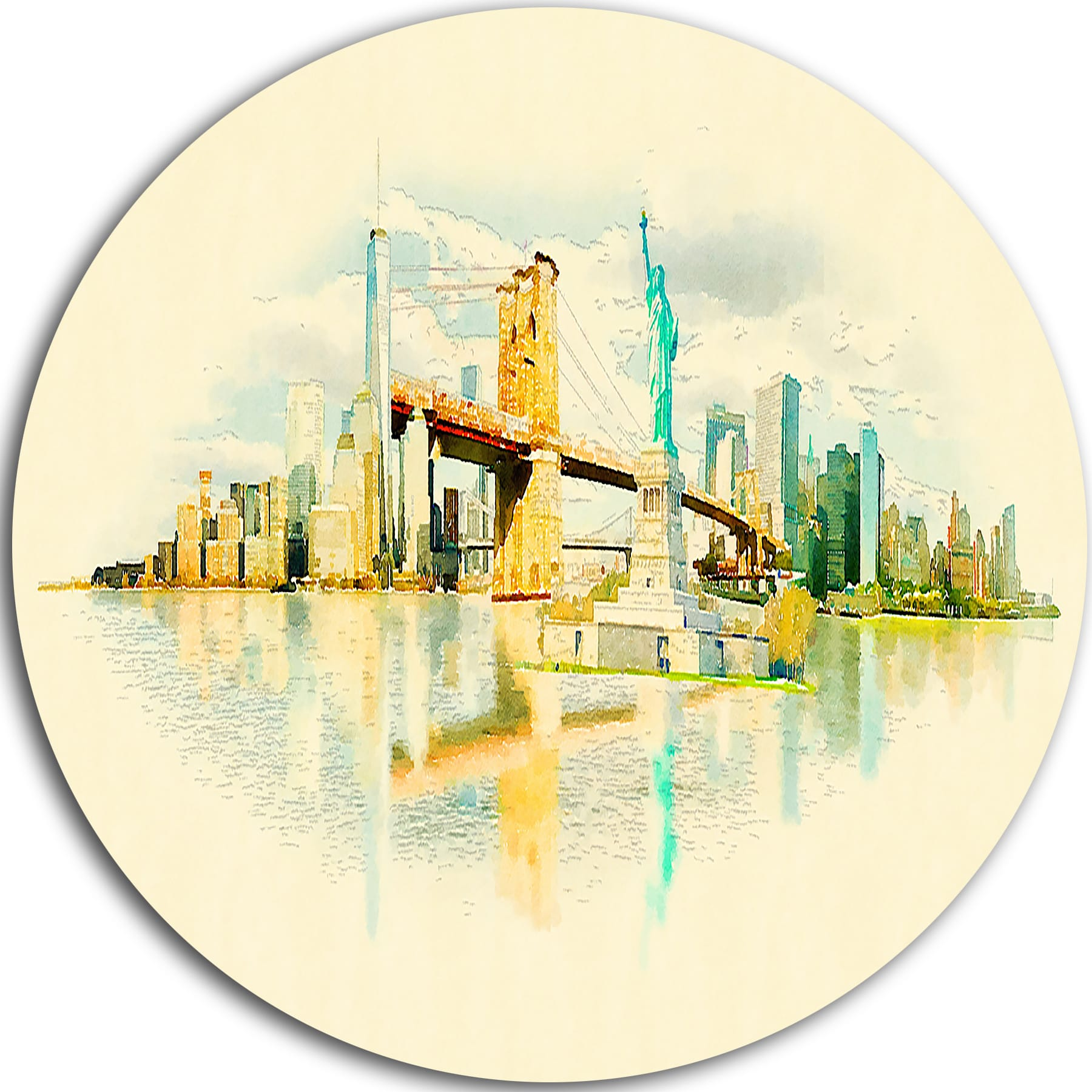 Shop Designart \'New York Panoramic View\' Cityscape Watercolor Circle ...