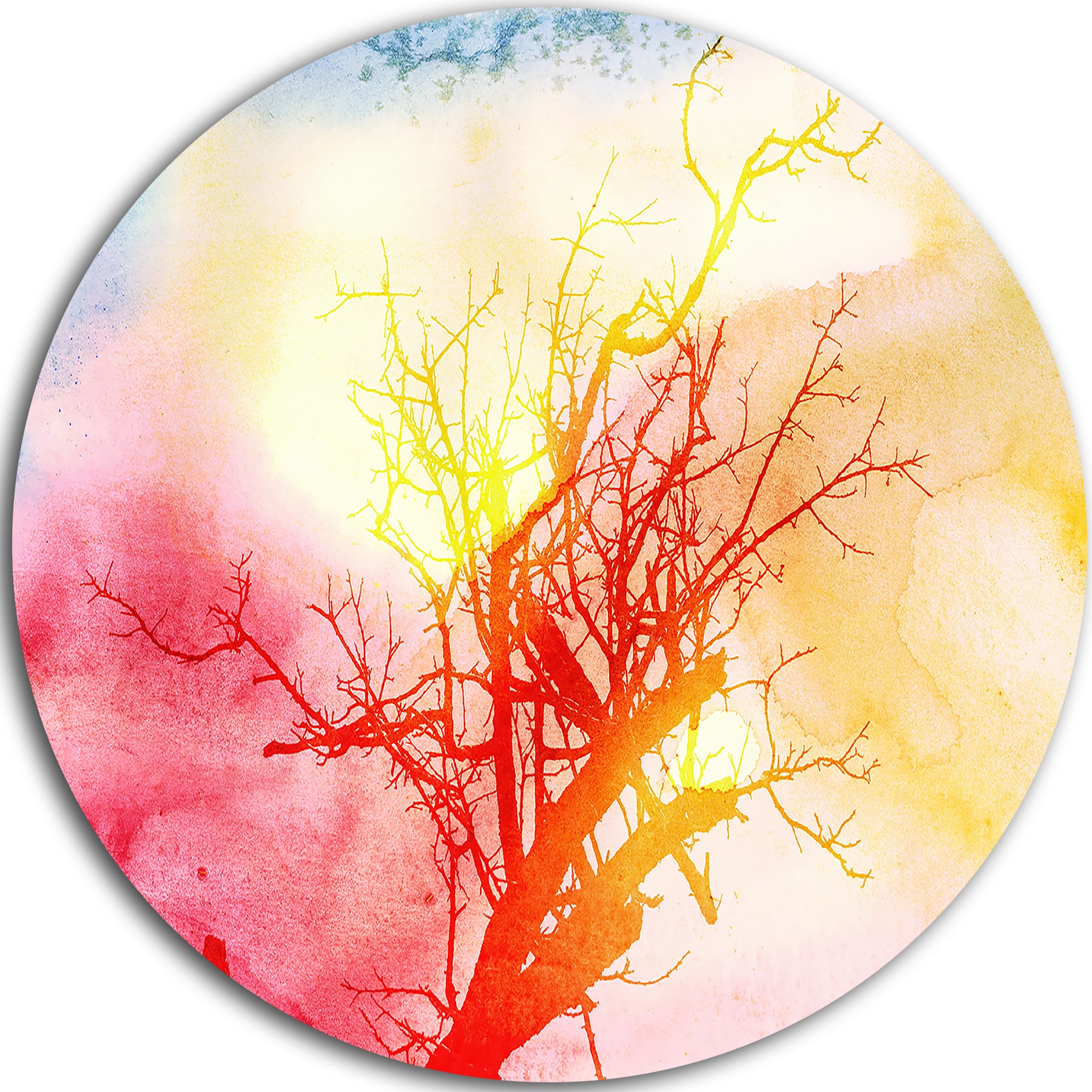 Designart \'Tree with Colorful Smoke\' Trees Painting Round Metal Wall ...