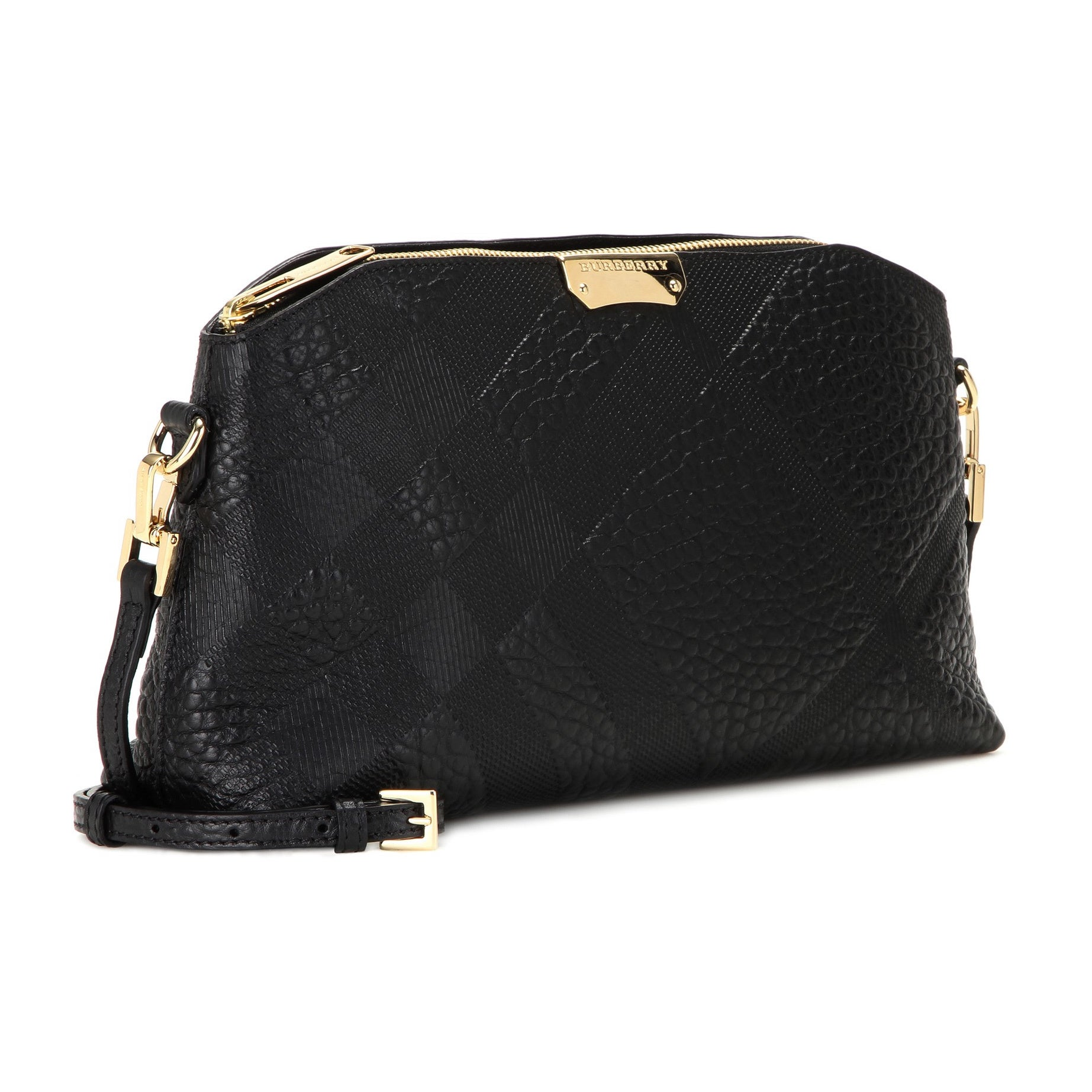 1338d6383d2c Shop Burberry Chichester Black Leather Check Crossbody Bag - Free Shipping  Today - Overstock - 14268929