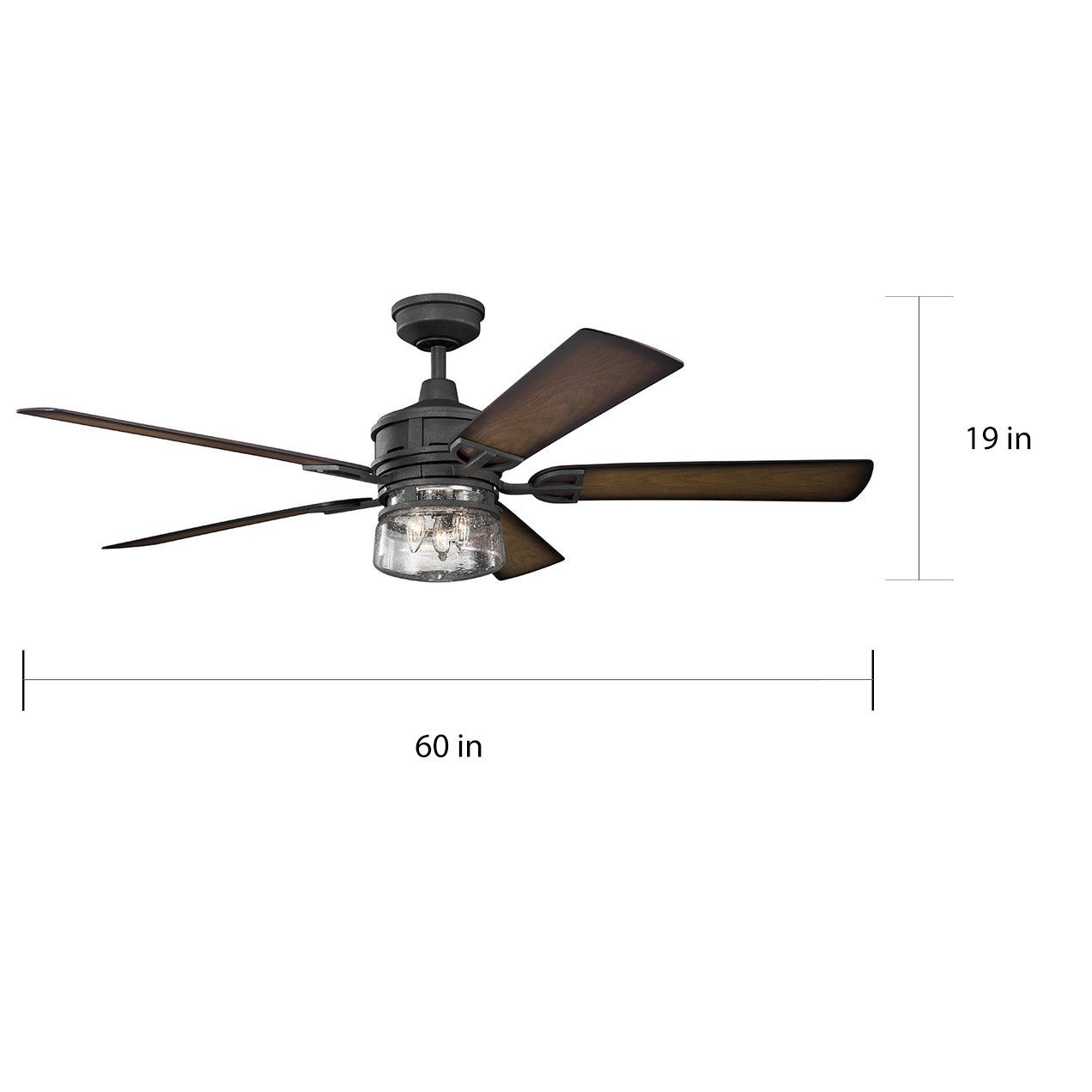 Kichler Lighting Lyndon Patio Collection 60 Inch Distressed Black Ceiling Fan W Light Free Today Com 14274174