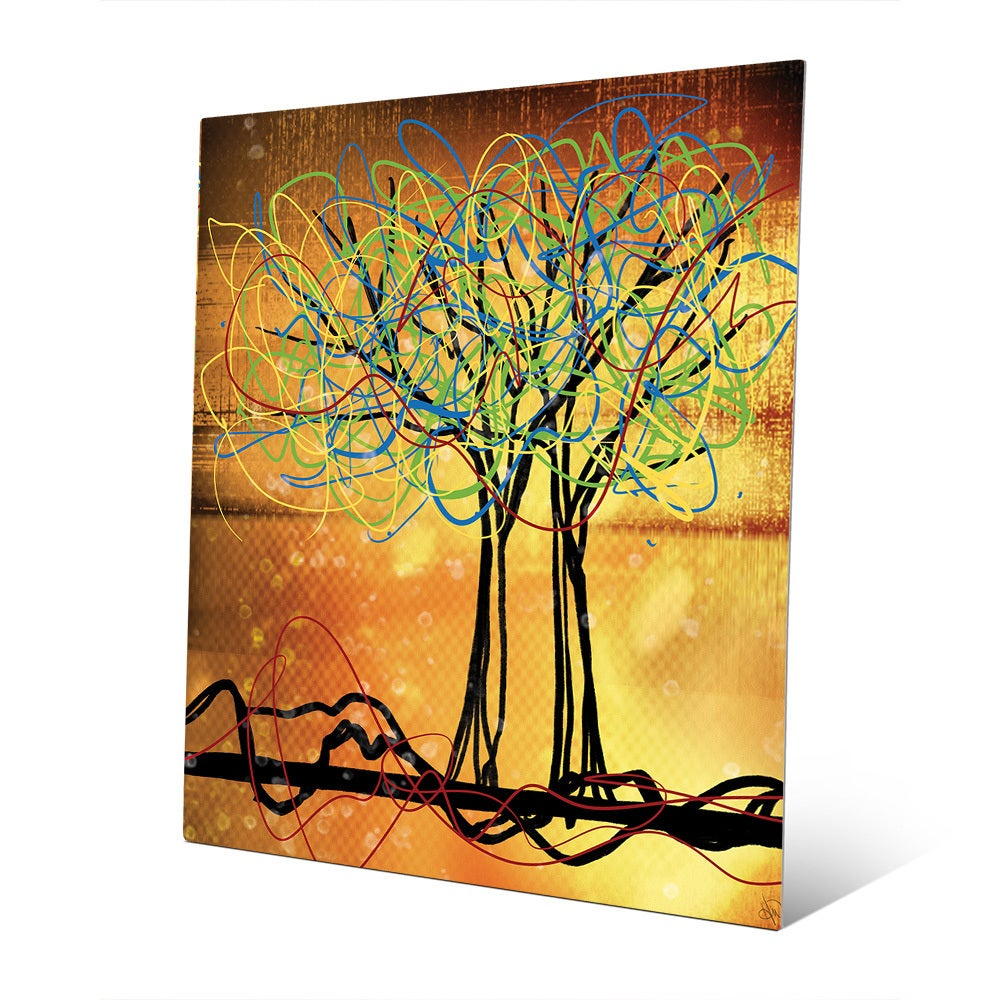 Shop \'Scribbled Trees\' Metal Wall Art - On Sale - Free Shipping ...