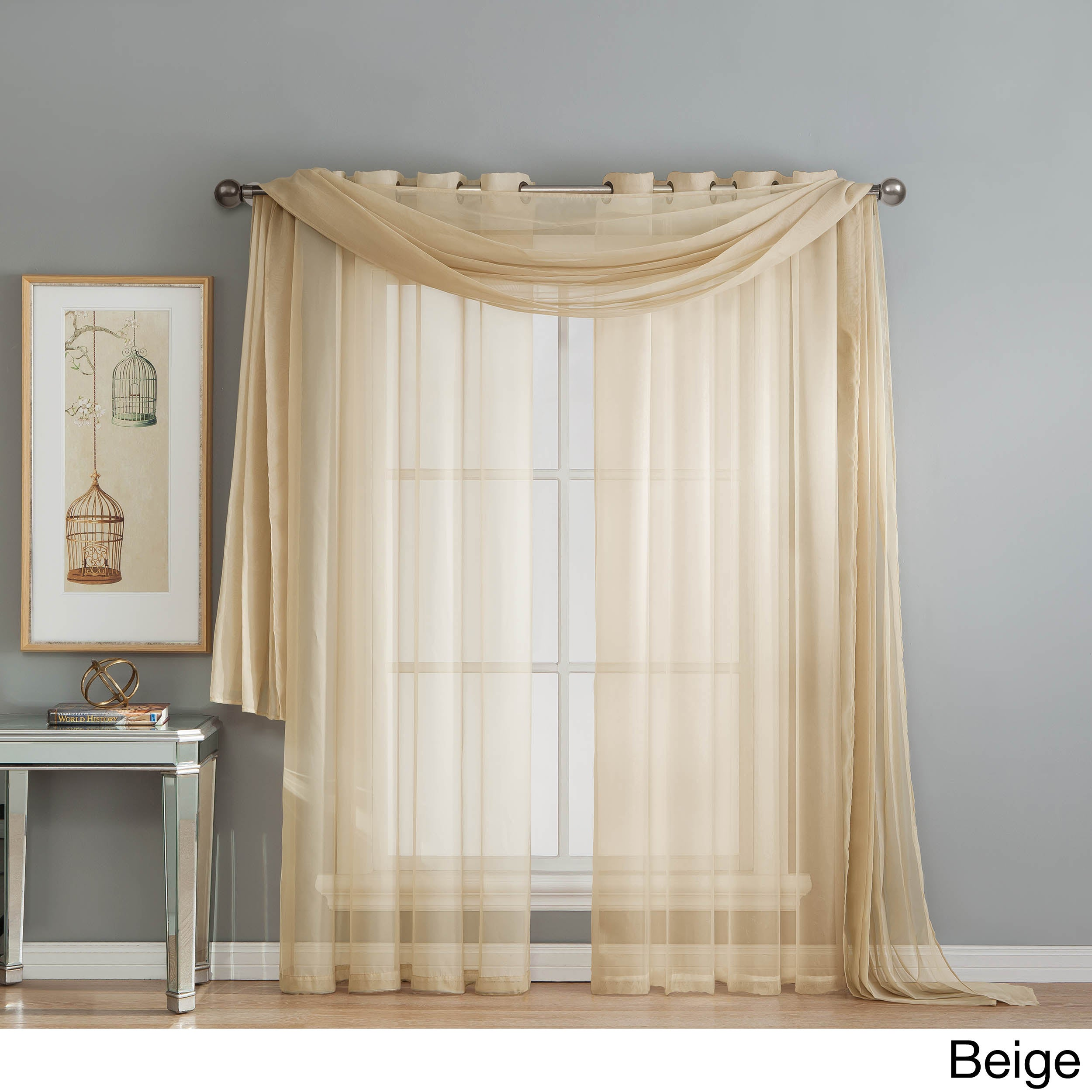Shop Window Elements Diamond Sheer Voile 216 Inch Curtain Scarf