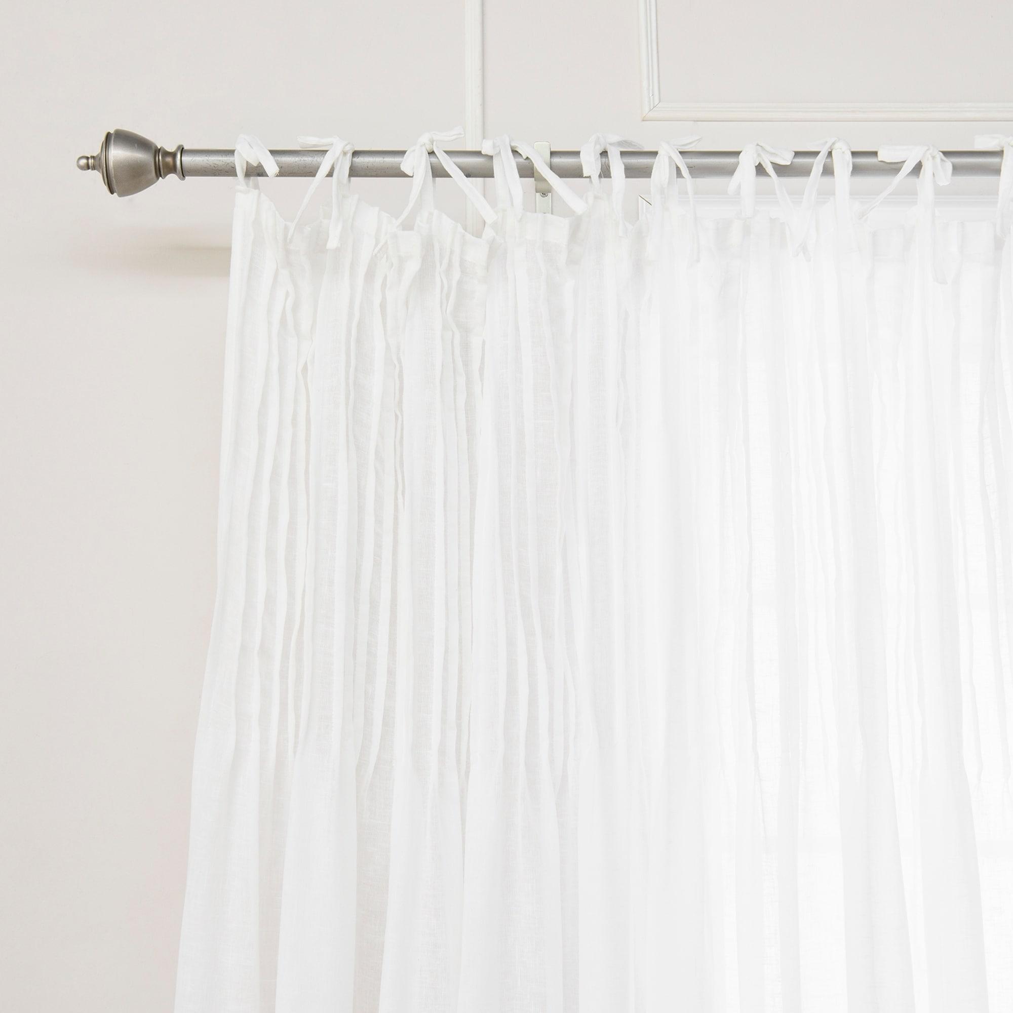Aurora Home Tie Top Pinch Pleat Faux Pippin Linen 84-inch Curtain ...