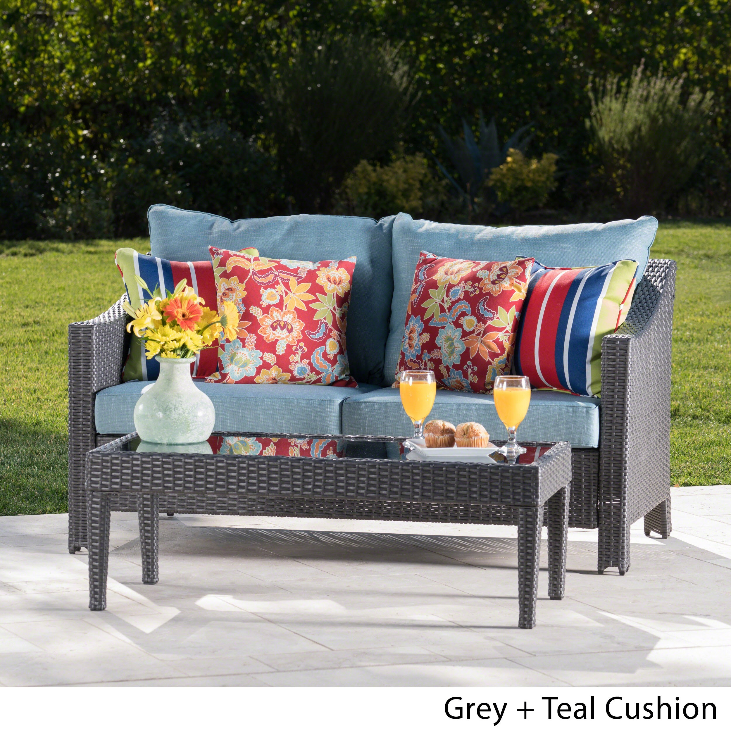 Antibes Outdoor 2 Piece Wicker Sofa Set With Cushions By Christopher Knight Home On Free Shipping Today 14282342