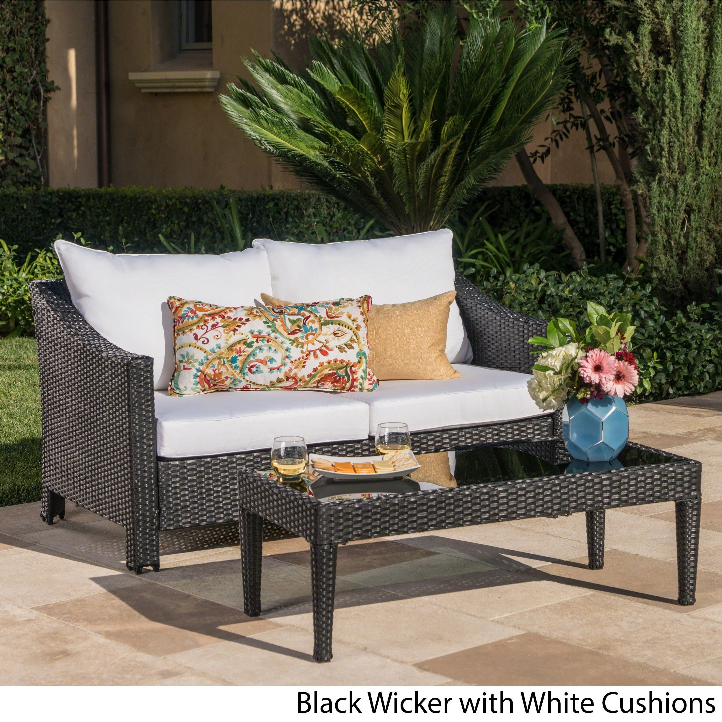 Shop Antibes Outdoor 2 Piece Wicker Sofa Set With Cushions By Christopher  Knight Home   On Sale   Free Shipping Today   Overstock.com   14282342