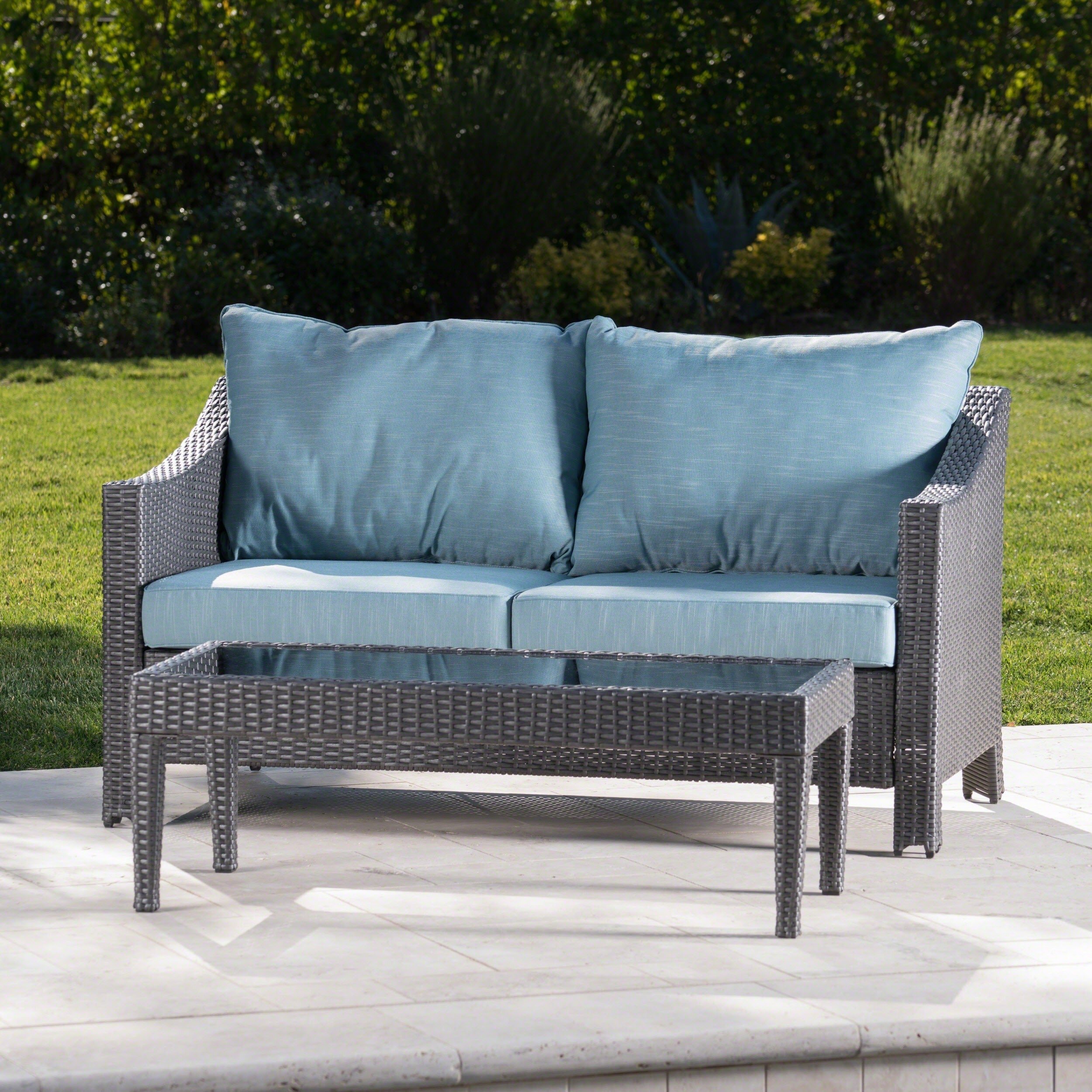 Shop Antibes Outdoor 2-piece Wicker Sofa Set with Cushions by ...