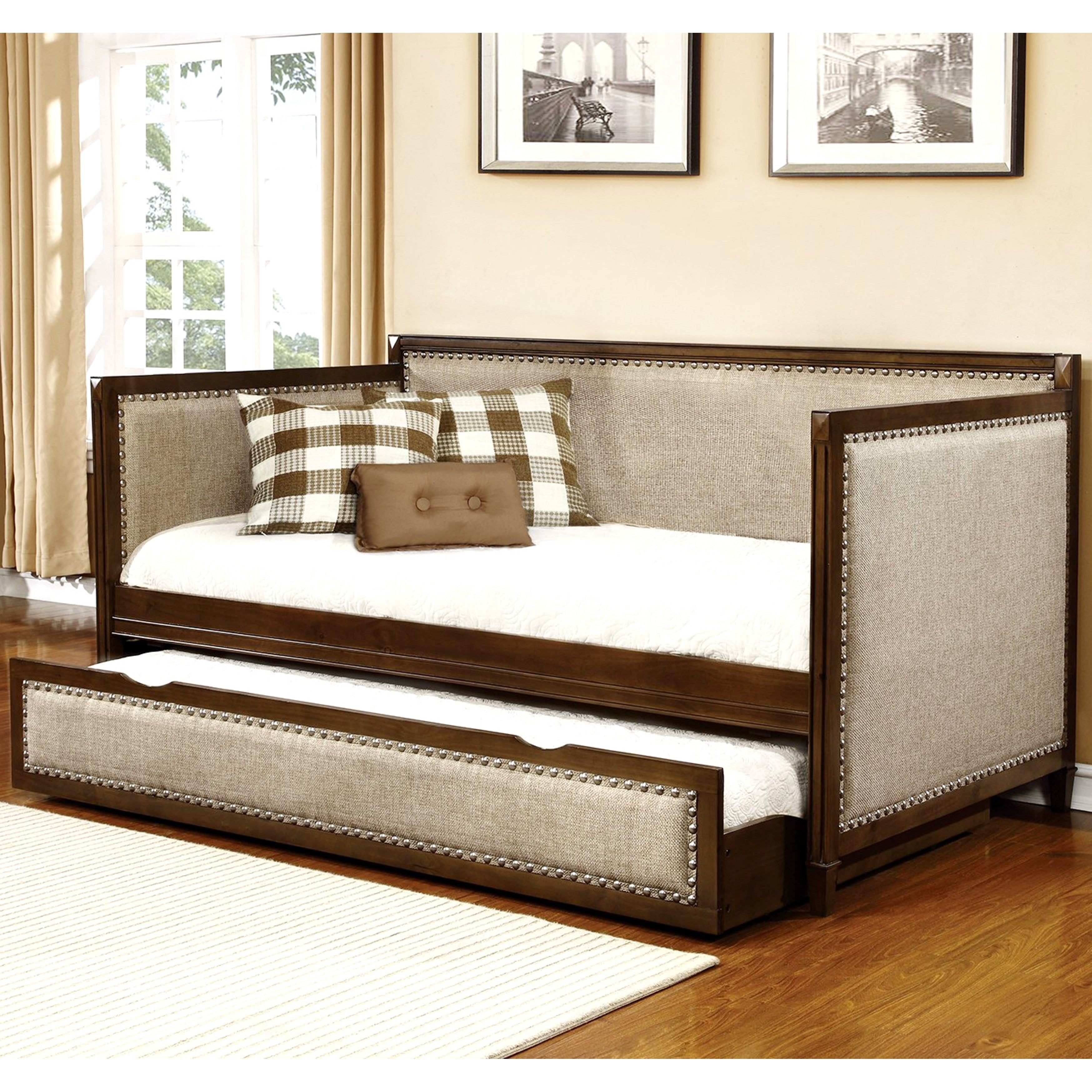 Shop Classic Nailhead Trim Design Upholstered Twin Daybed With Trundle    Free Shipping Today   Overstock.com   14283223