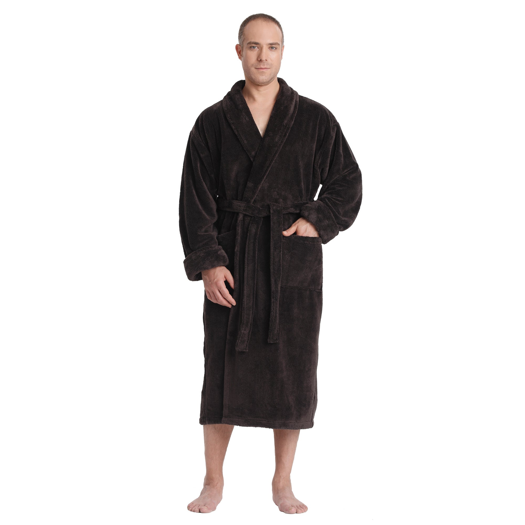 c8b0c85ea4 Shop Men s Satin Touch Shawl Fleece Bathrobe Turkish Soft Plush Robe ...