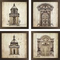 Set of 4 European Architectural Prints in Golden Bronze Finish Frame