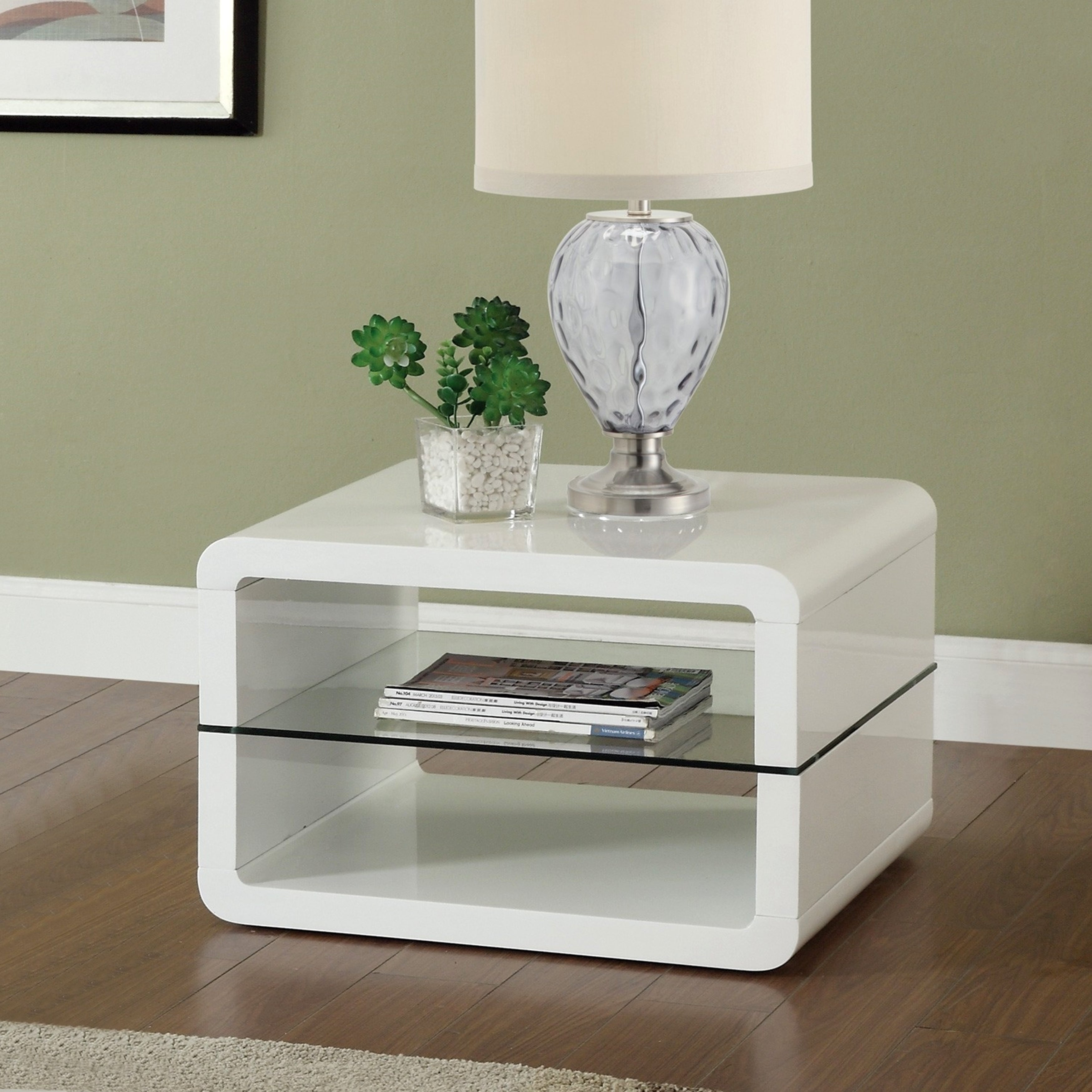 Shop Modern Cube Design Accent Table With Glass Shelf   Free Shipping Today    Overstock.com   14291864