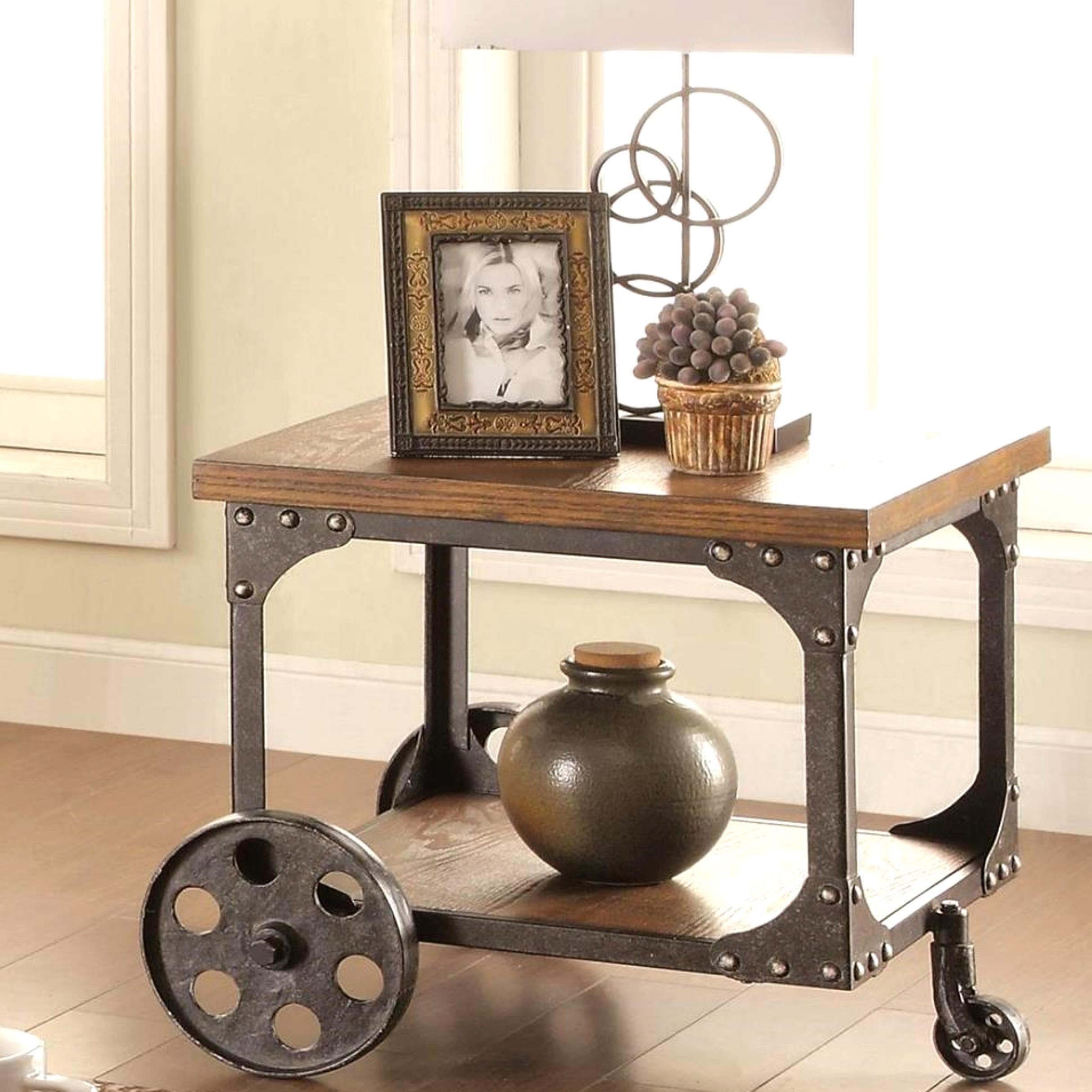 Industrial Cart Design Occasional End Table With Functional Iron Wheels    Free Shipping Today   Overstock   20875671