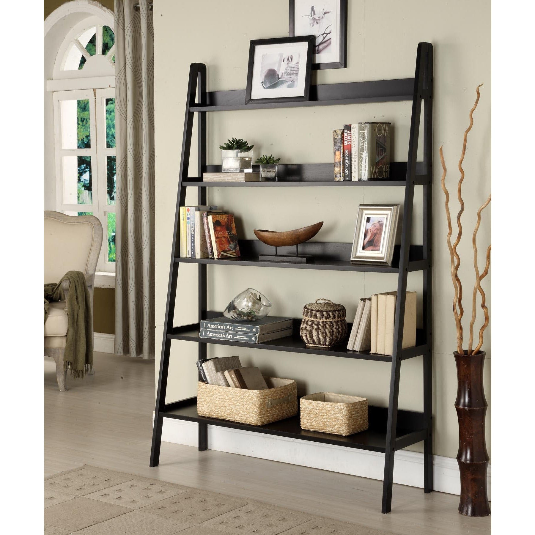 com espresso bookcase amazon ladder home dp kitchen leaning dining casual bookcases shelf