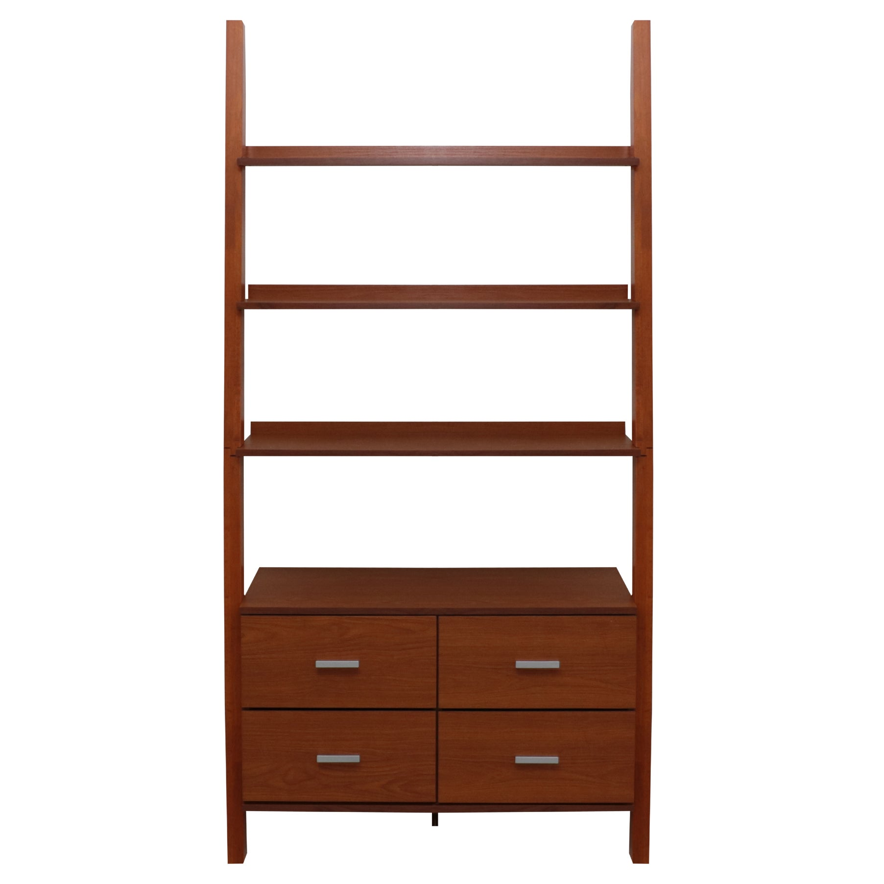 Shop oak finished leaning ladder bookshelf with drawers free shipping today overstock com 14295545