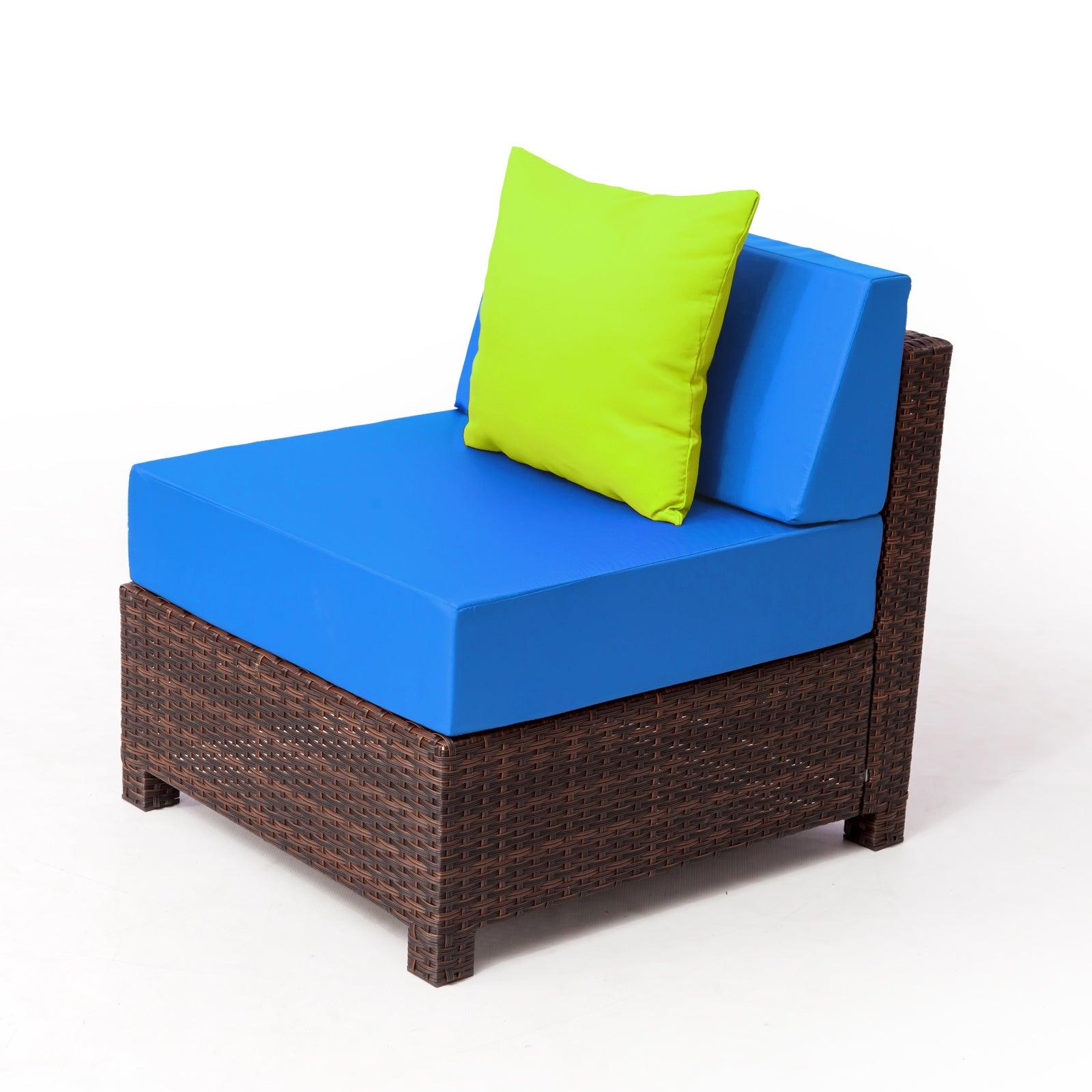 Shop Mcombo 9 Piece Brown Wicker Rattan Patio Furniture Set Blue