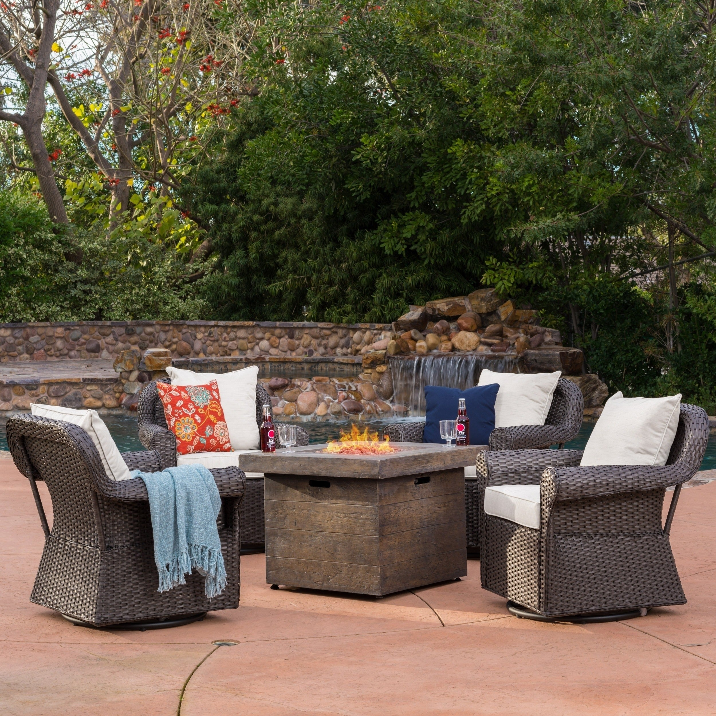Image of: Shop Black Friday Deals On Arlington Outdoor 5 Piece Gas Firepit Seating Set By Christopher Knight Home Overstock 14297984