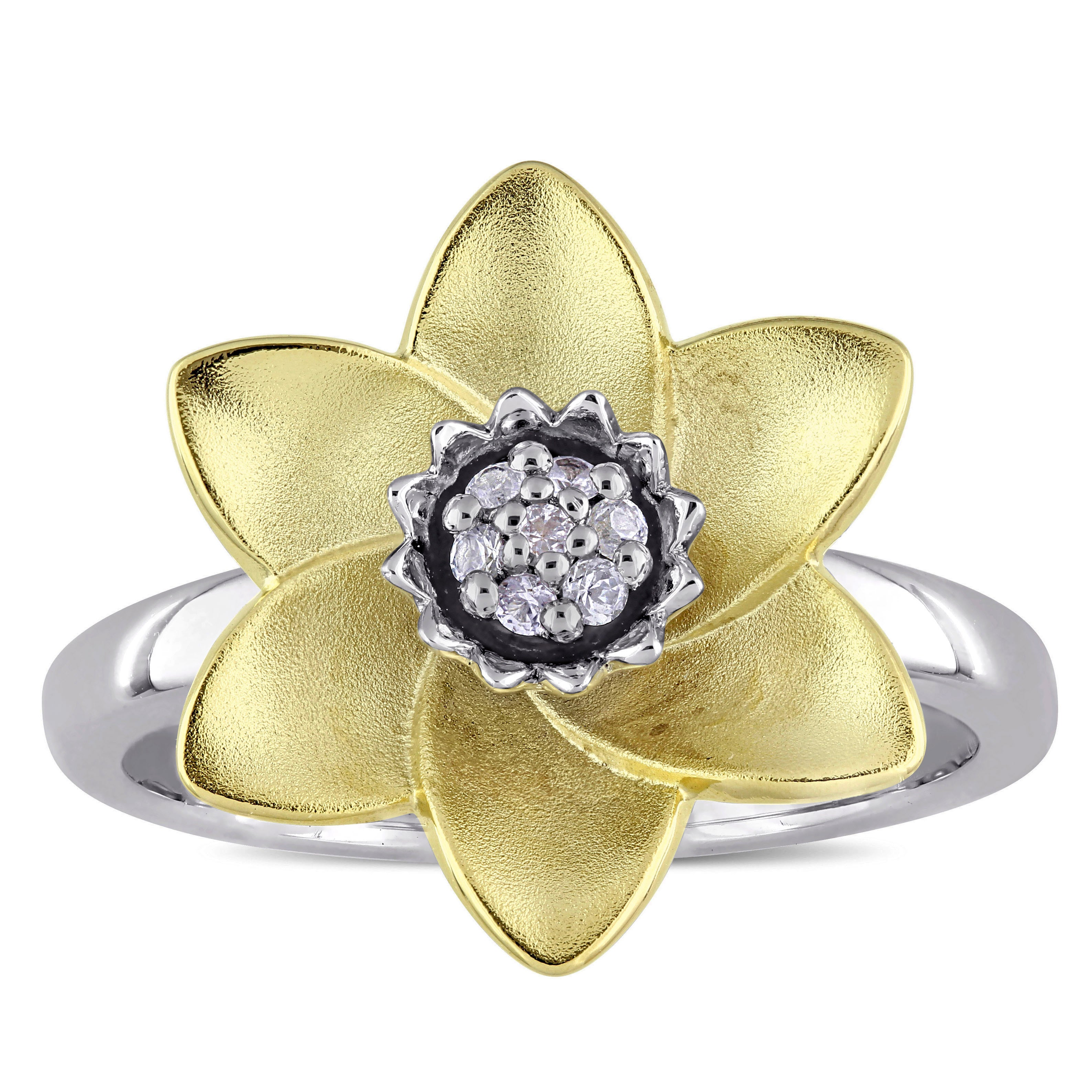 Laura Ashley White Sapphire Flower Ring In Two Tone White And Yellow