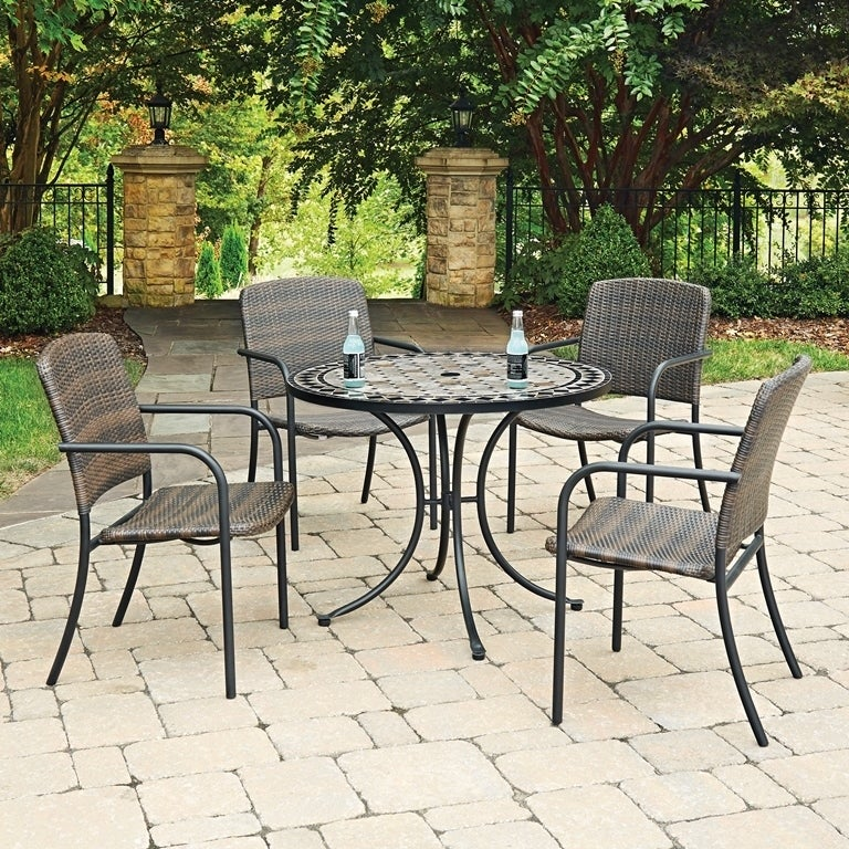 Marble Top 5 Pc Round Outdoor Dining Table 4 Chairs By Home Styles Free Shipping Today 14308455