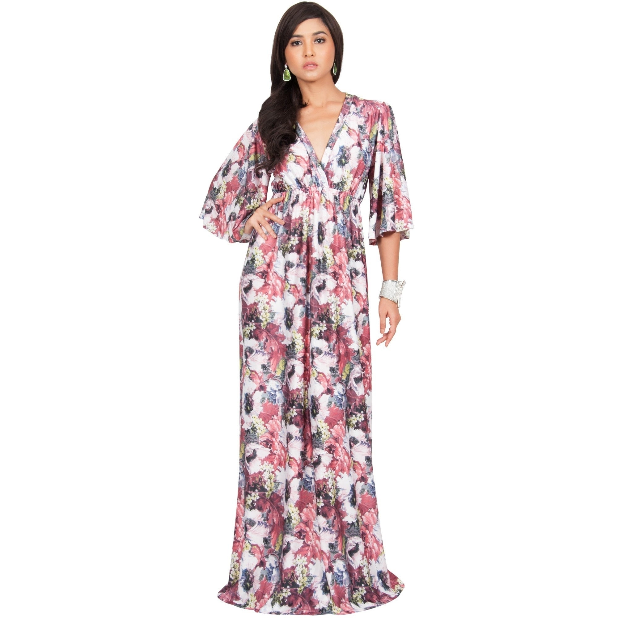 Koh Koh Women\'s Long Kimono Sleeve Spandex Blend Floral Print Flowy ...