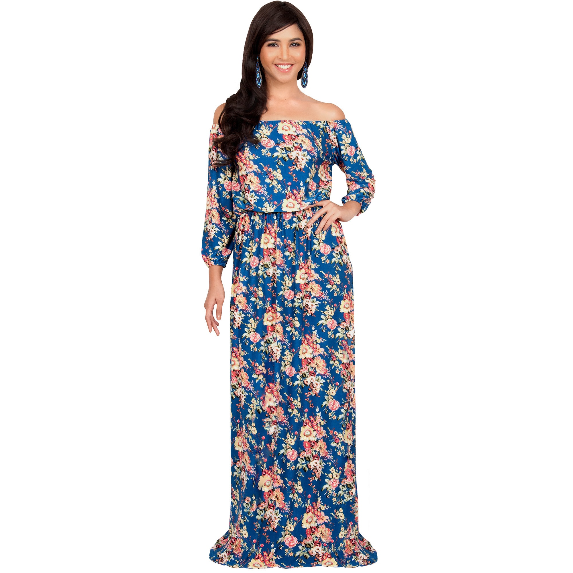 a763fc86ffc7 Shop Koh Koh Women s Off-shoulder Sexy Summer Floral-print Maxi ...