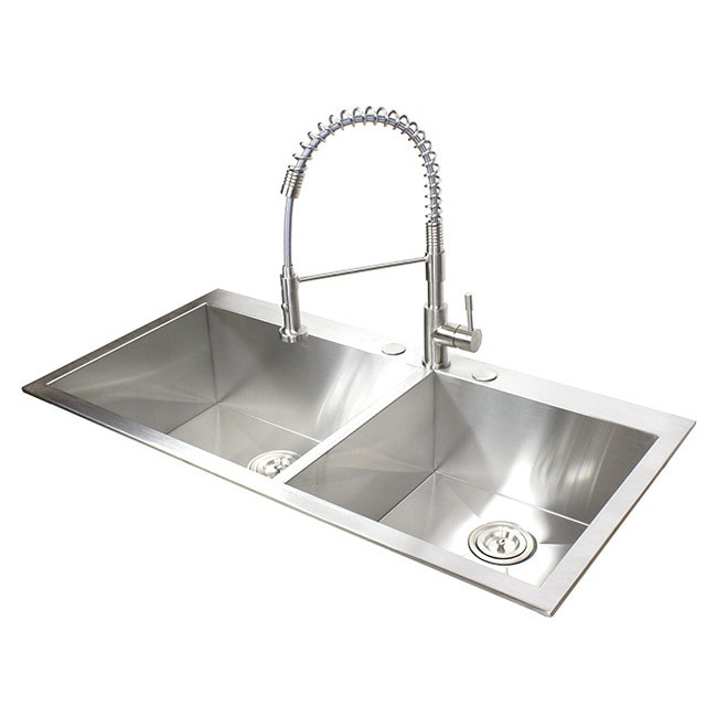ariel 16 gauge stainless steel 43 inch double bowl kitchen sink with accessories   free shipping today   overstock com   20890557 ariel 16 gauge stainless steel 43 inch double bowl kitchen sink      rh   overstock com