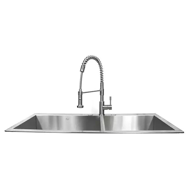 Medium image of ariel 16 gauge stainless steel 43 inch double bowl kitchen sink with accessories   free shipping today   overstock com   20890557