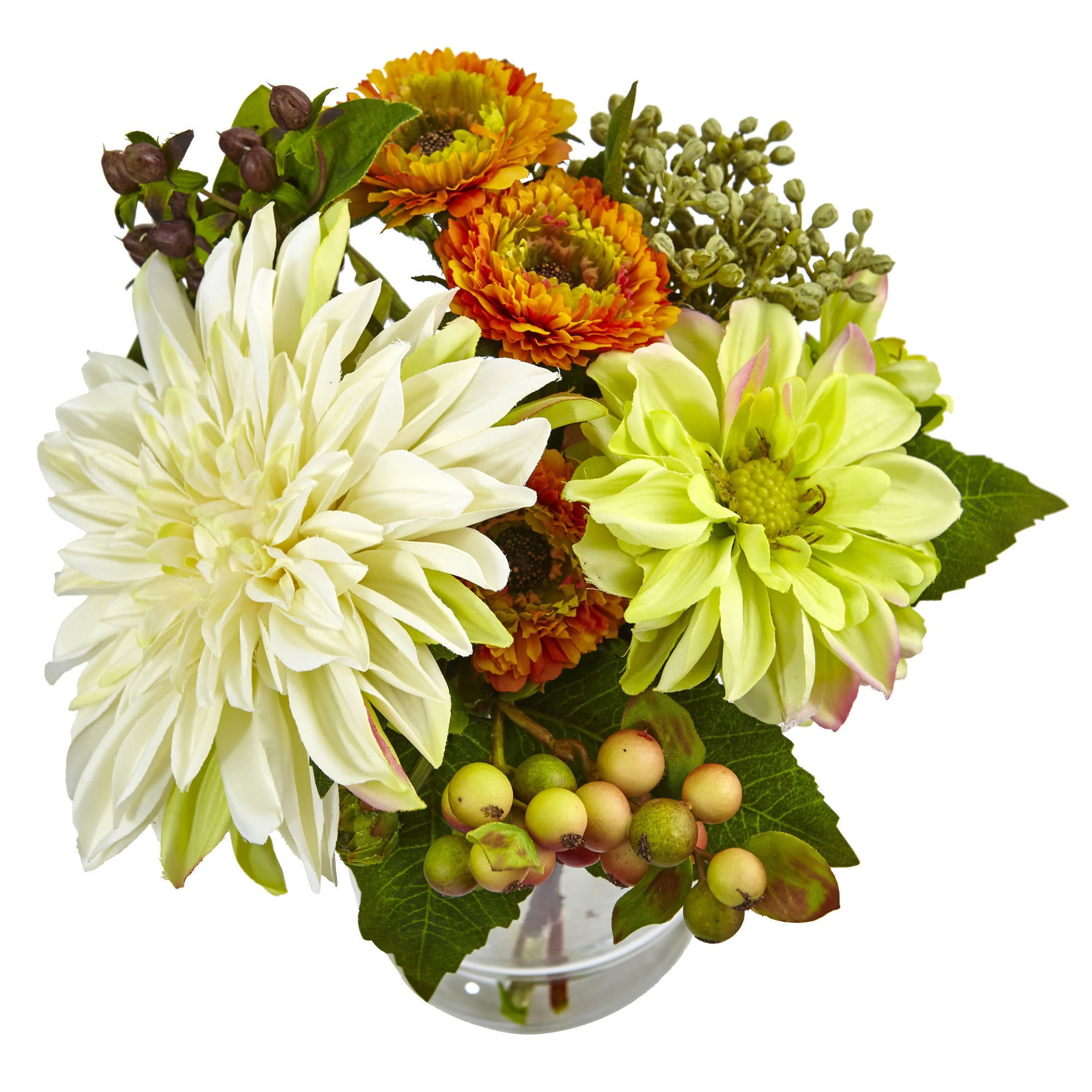 Shop Nearly Natural Mixed Dahlia and Mum with Glass Vase - Free ...