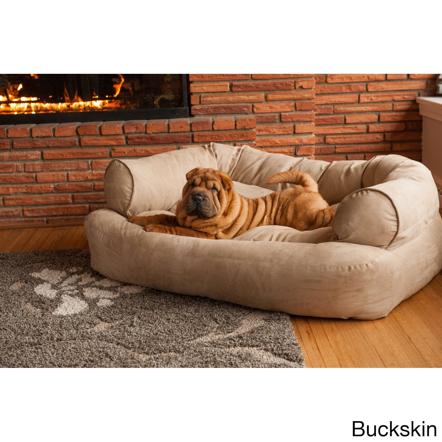 Snoozer Overstuffed Solid Microsede Luxury Pet Sofa   Free Shipping Today    Overstock   20891746