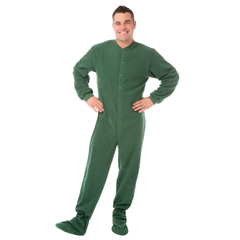 89bd2e3f69 Shop Big Feet PJs Green Micro-polar Fleece Adult Footed Pajamas NO Drop Seat  Sleeper - On Sale - Free Shipping Today - Overstock - 14311590