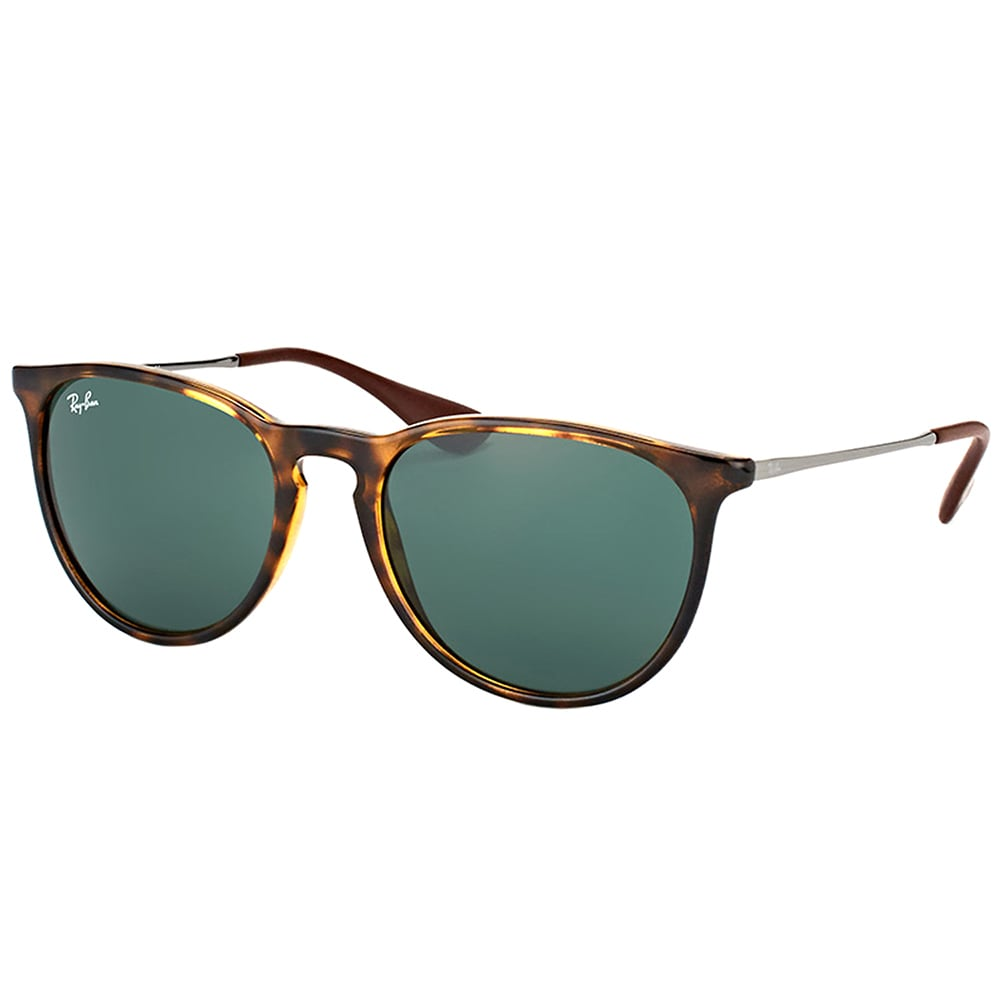 3d1cbe8fd8 Ray-Ban RB 4171 710 71 Erika Light Havana Plastic Round Sunglasses Green  Lens