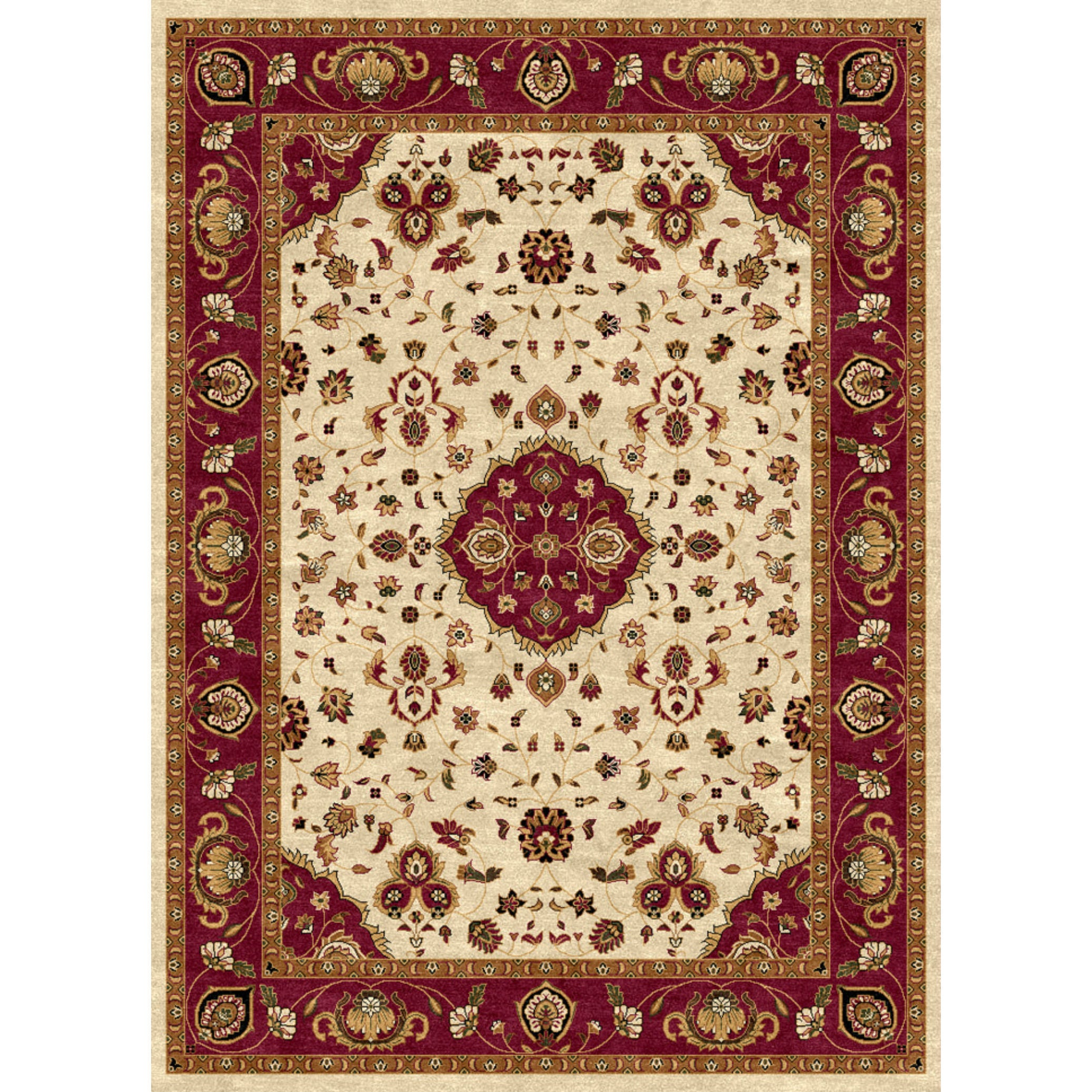 Shop ethnic collection cream burgundy polypropylene turkish area rug free shipping today overstock 14325684