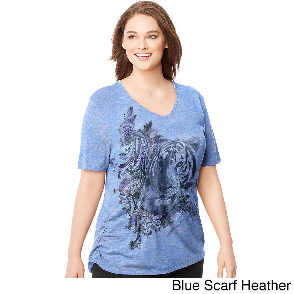 49e8f8a6ebe Shop Hanes Women s Just My Size Hazy Framework Cotton-bend Plus-size  Short-sleeve Side-shirring V-neck Graphic T-shirt - Free Shipping On Orders  Over  45 ...
