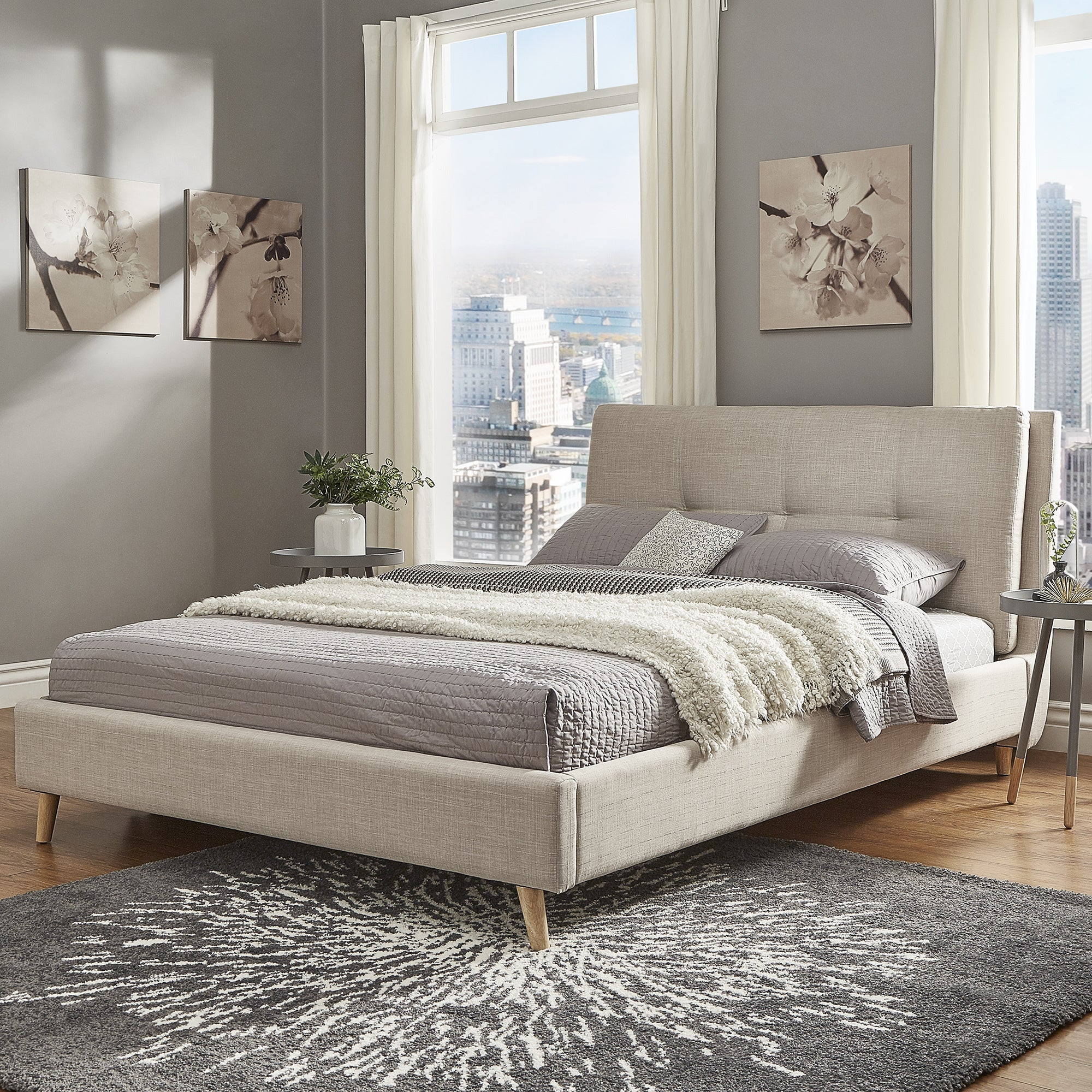 double frame for headboard side studio size disley fabric oak king bed solid grey