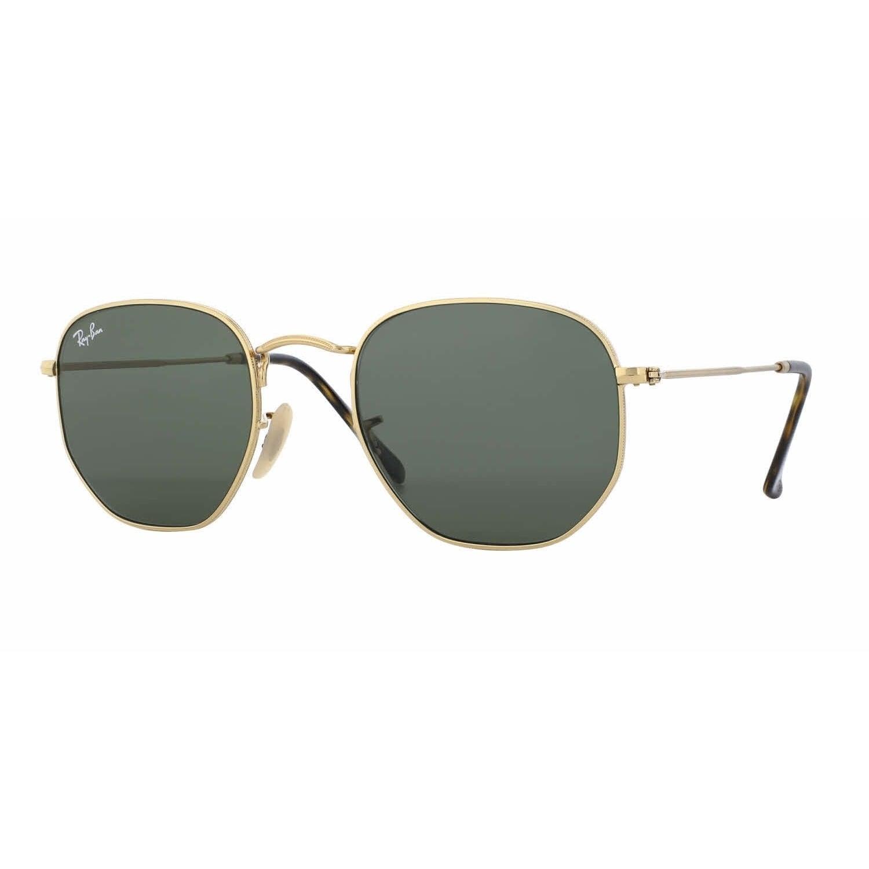a4e6e52488 Ray-Ban RB3548N 001 Hexagonal Flat Gold Frame Green Classc 51mm Lens  Sunglasses