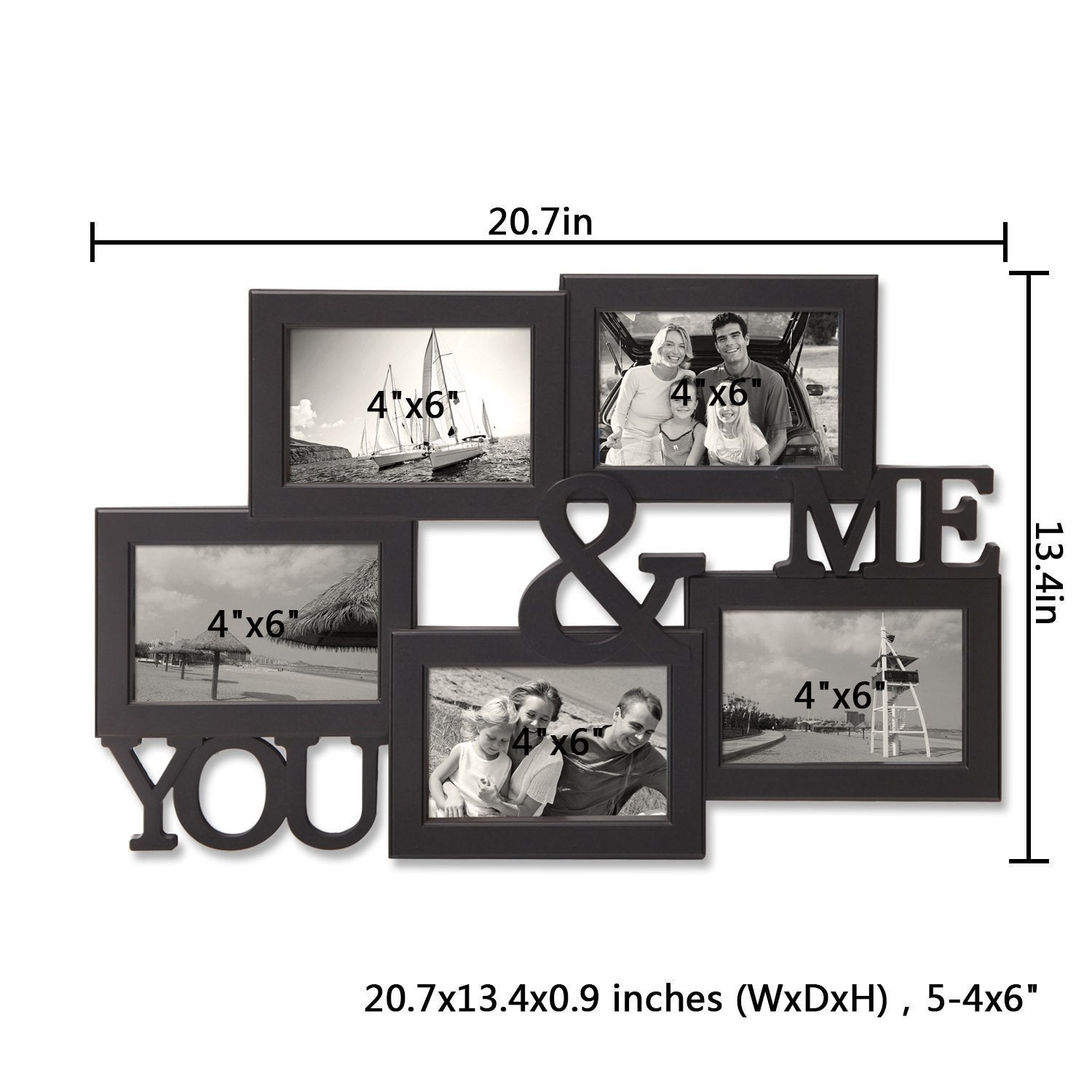 Adeco Five-opening Plastic Black Wall Hanging \'You and Me\' Photo ...