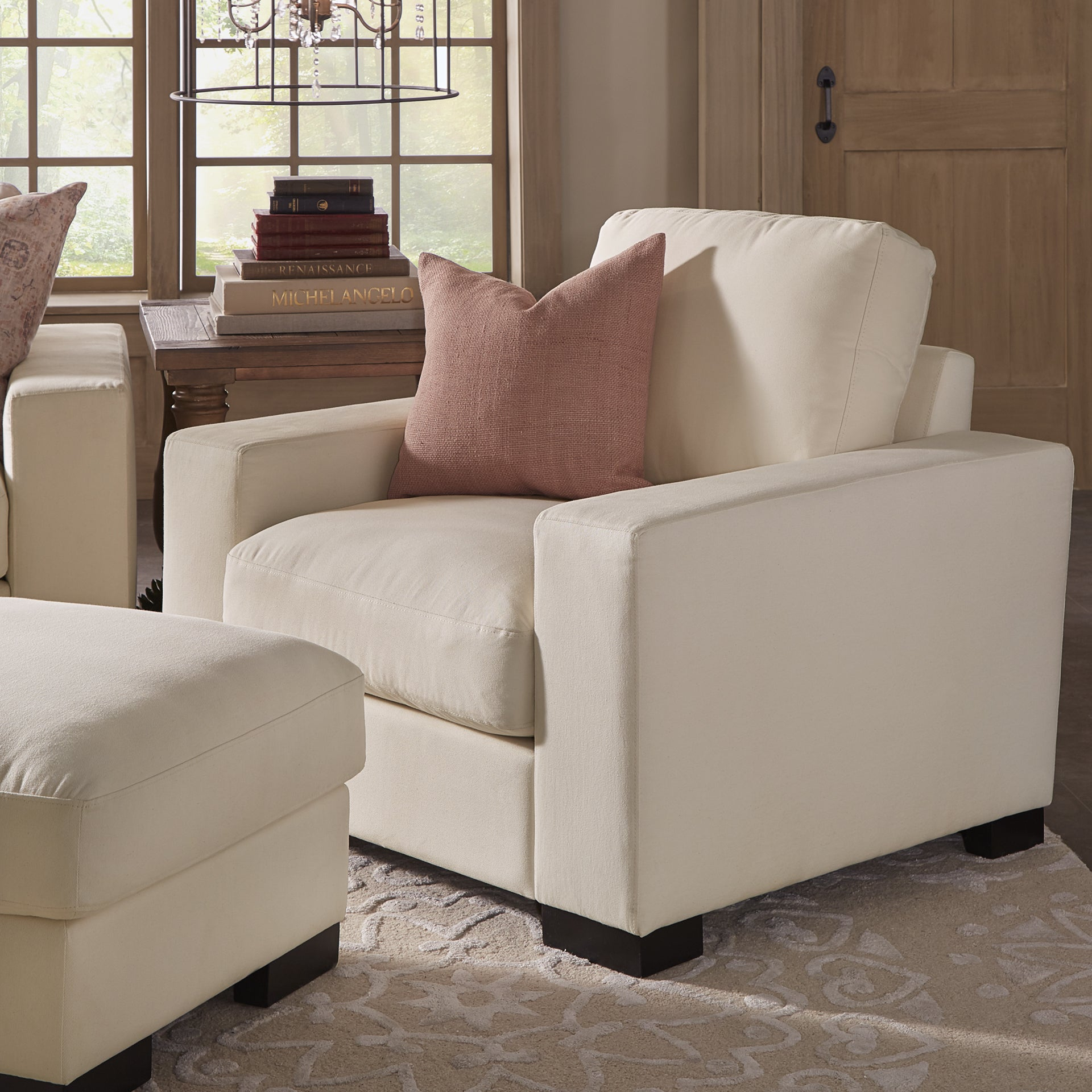 Shop Lionel II White Cotton Fabric Down-Filled Chair by iNSPIRE Q Artisan - Free Shipping Today - Overstock.com - 14332790 & Shop Lionel II White Cotton Fabric Down-Filled Chair by iNSPIRE Q ...
