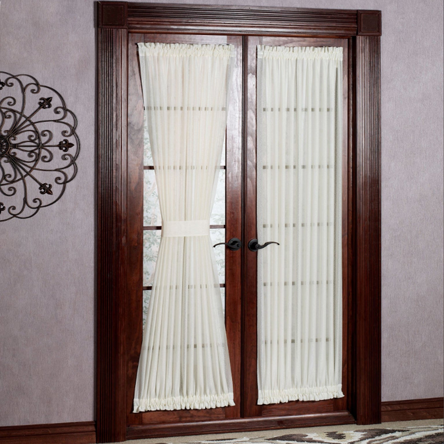 Incroyable Shop Semi Sheer 72 Inch Tailored Door Curtain Panel With Tieback   50 X 72    On Sale   Free Shipping On Orders Over $45   Overstock.com   14333656