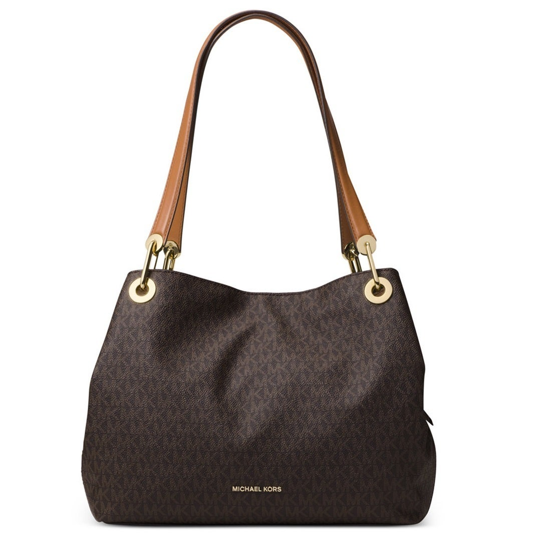 63972c0820b6 Shop Michael Kors Raven Signature Large Brown Shoulder Tote - Free Shipping  Today - Overstock - 14335313