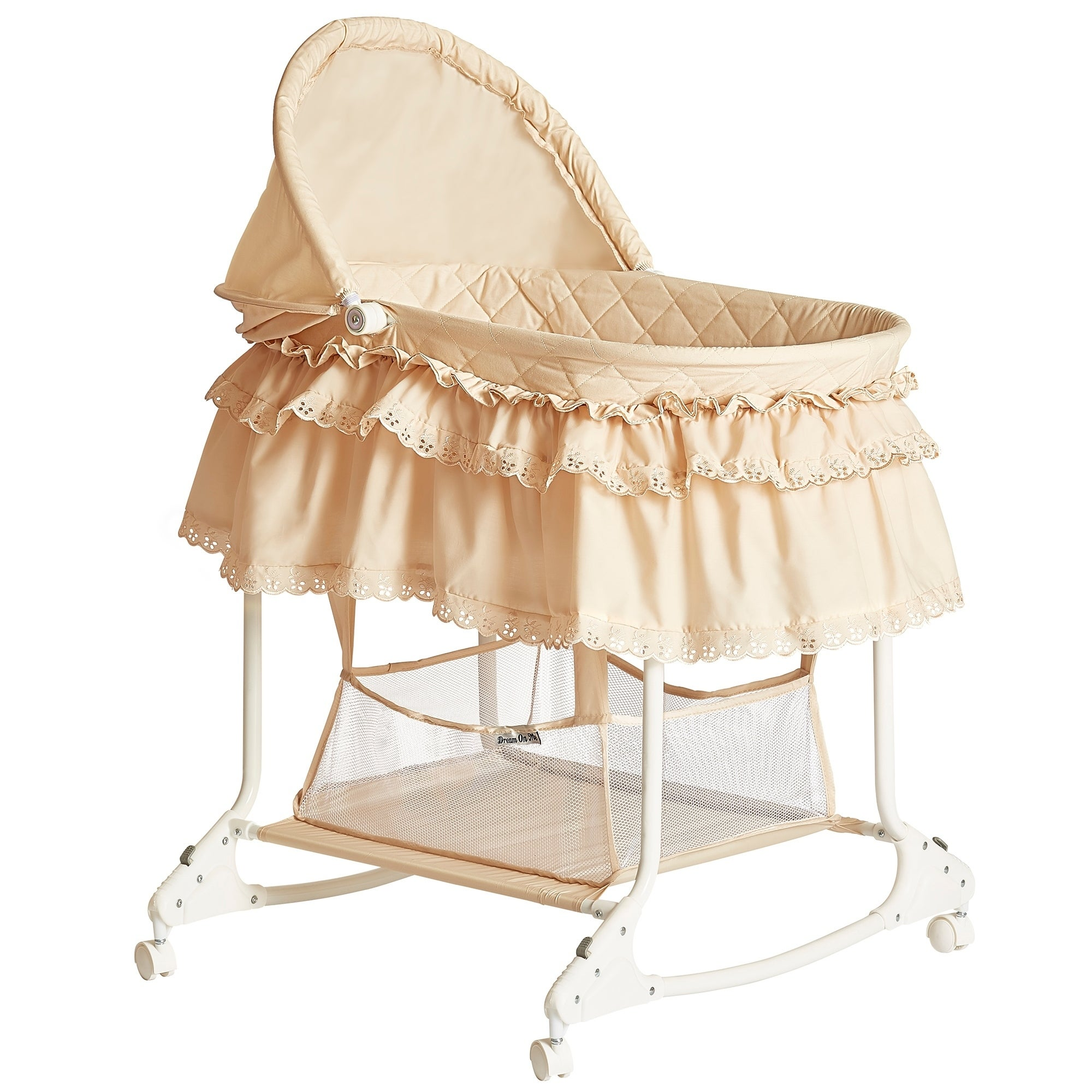 Shop Dream On Me Willow Beige Metal and Fabric Bassinet - Free ...