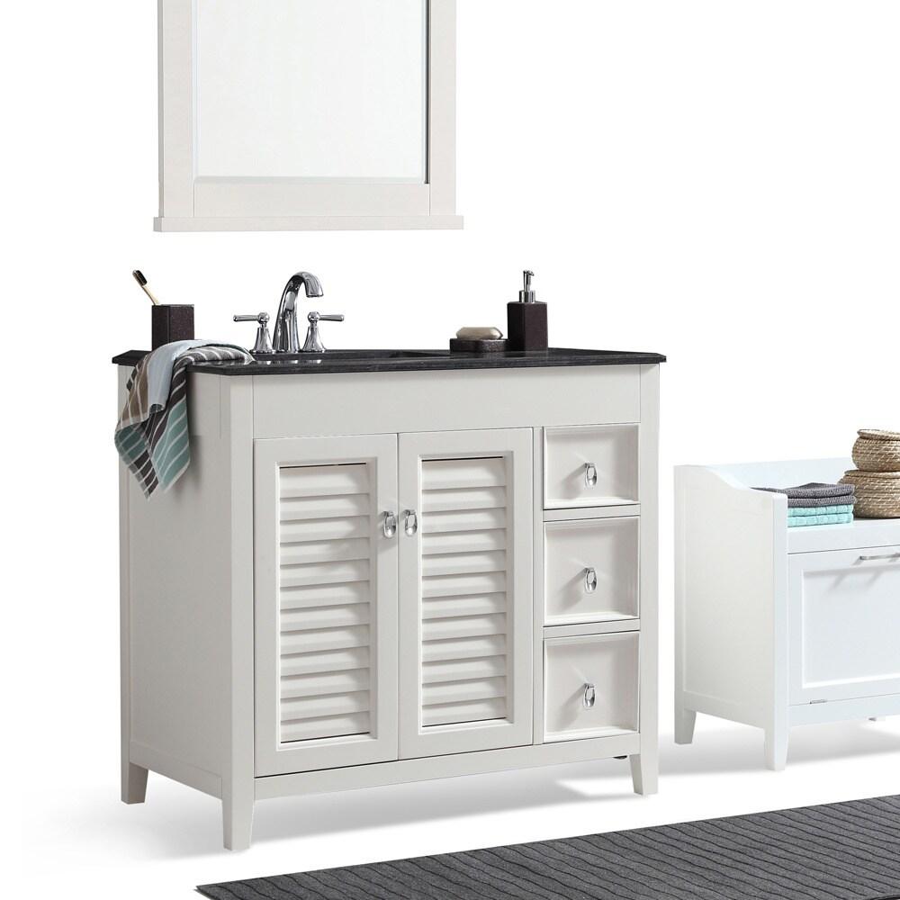Shop WYNDENHALL Palmer Inch Offset Bath Vanity In White With - 36 inch black bathroom vanity