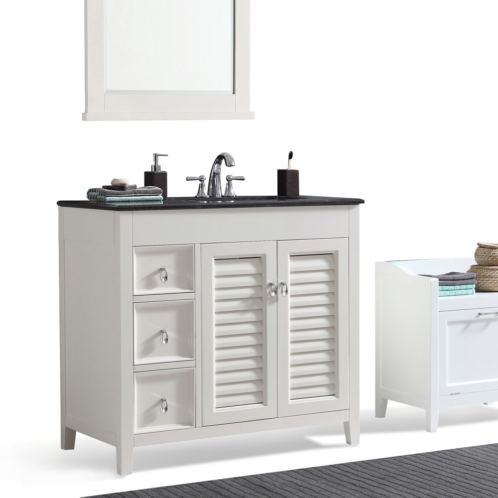 Shop WYNDENHALL Palmer 36 Inch Offset Bath Vanity In White With Black  Granite Top   Free Shipping Today   Overstock.com   14339070