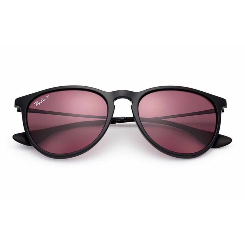 6c5e3ae362 Shop Ray-Ban RB4171 601 5Q Erika Classic Black Frame Polarized Violet  Mirror 54mm Lens Sunglasses - Free Shipping Today - Overstock - 14339073