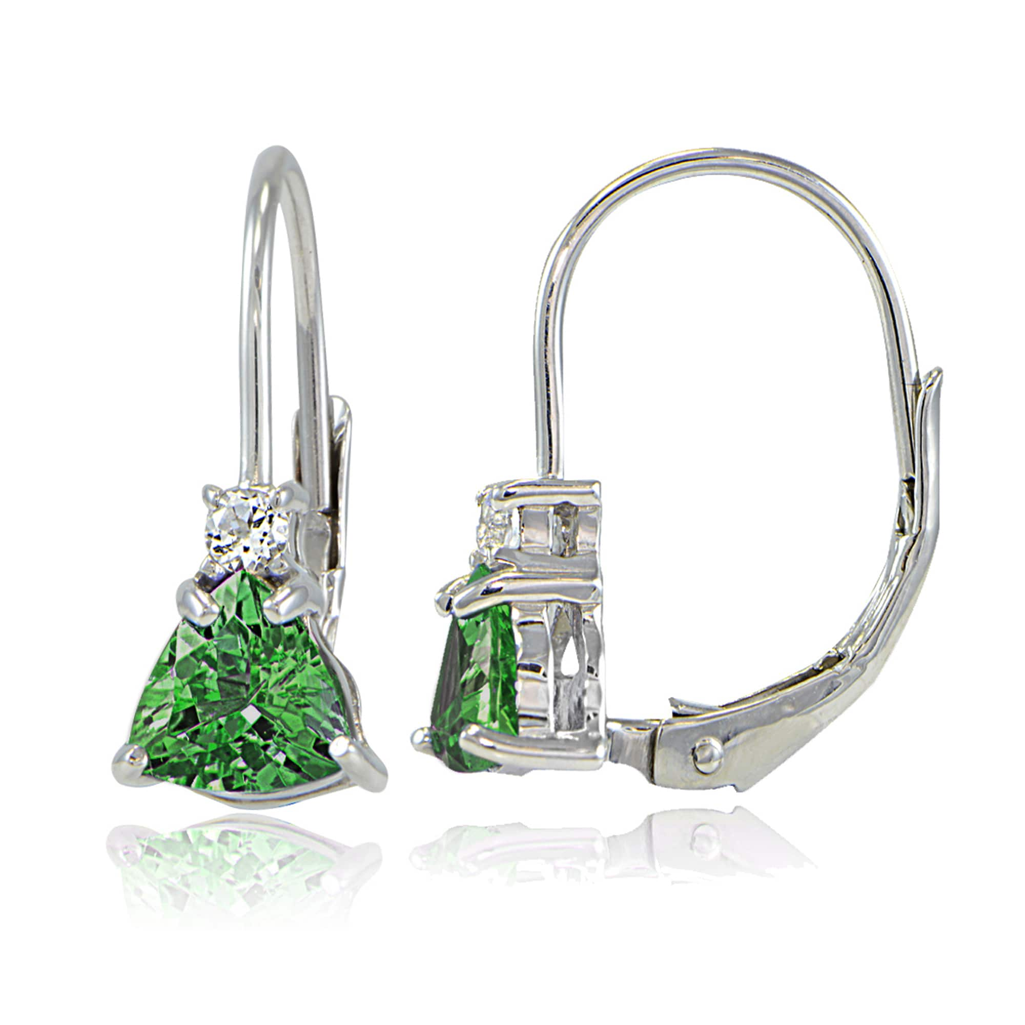 Glitzy Rocks Sterling Silver Gemstone Trillion Cut Leverback Drop Earrings On Free Shipping Orders Over 45 14339110