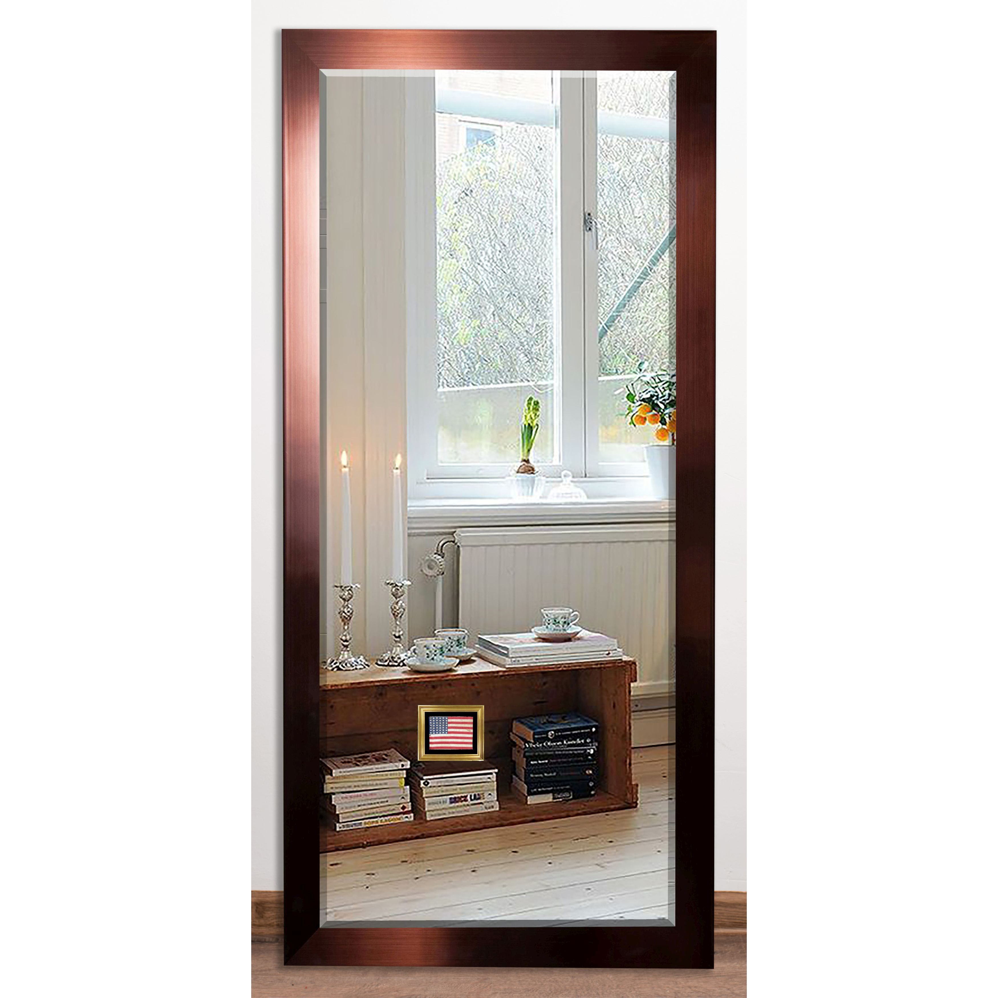 Shop us made shiny bronze beveled floor mirror copper free shipping today overstock com 14339819