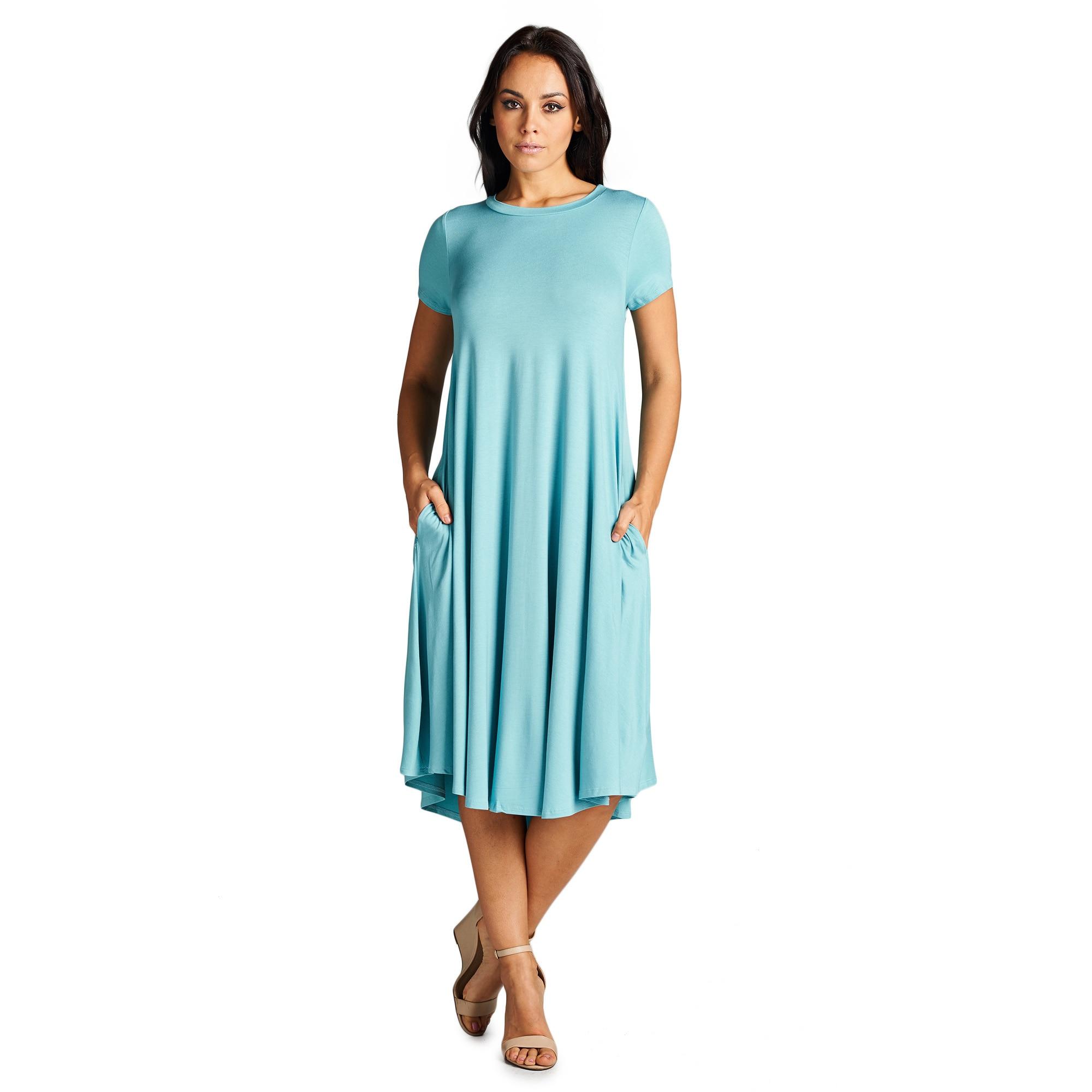 Shop Spicy Mix Aurelia Teal Rayon Jersey Short-sleeve Midi Tunic ...