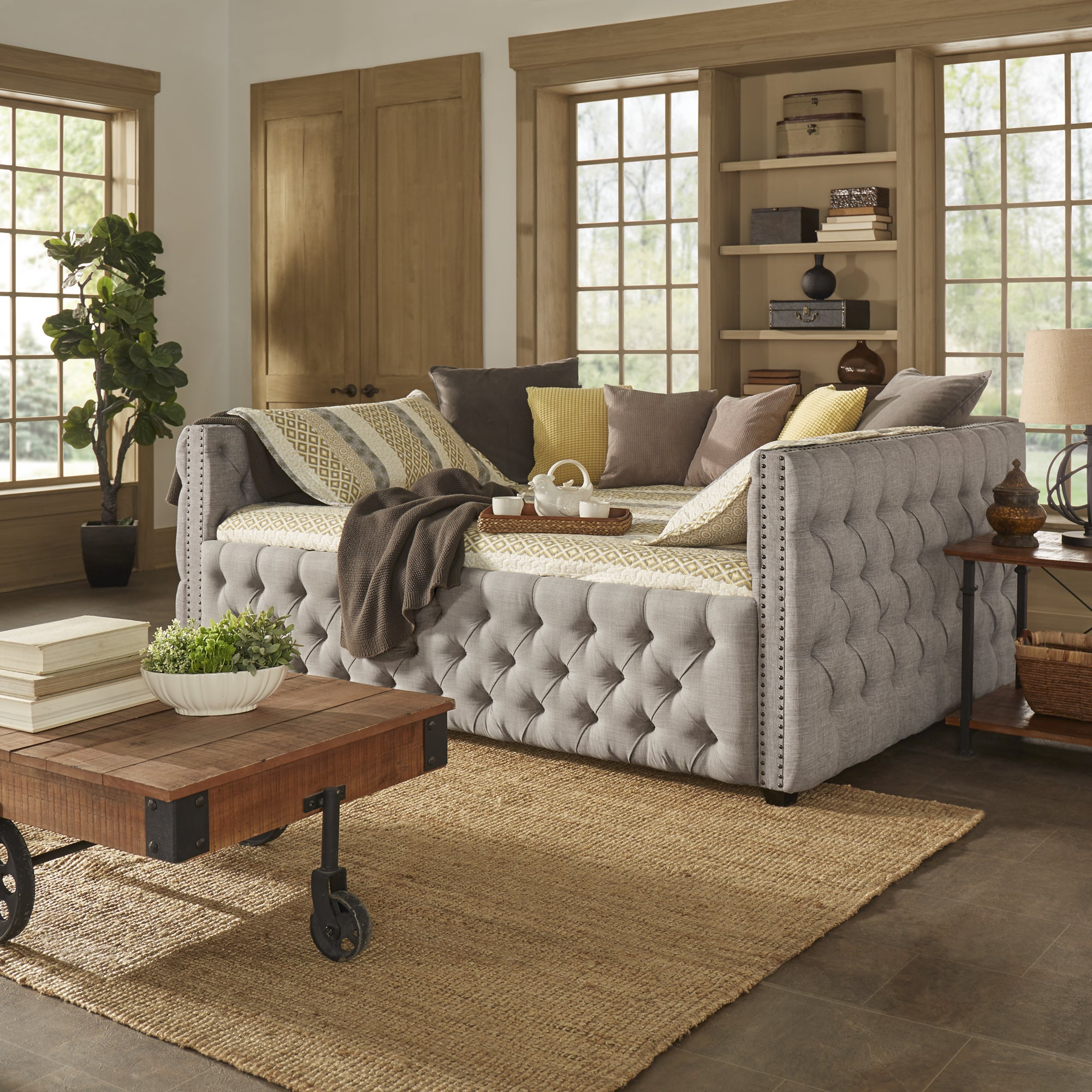 Day Bed.Knightsbridge Queen Size Tufted Nailhead Chesterfield Daybed And Trundle By Inspire Q Artisan