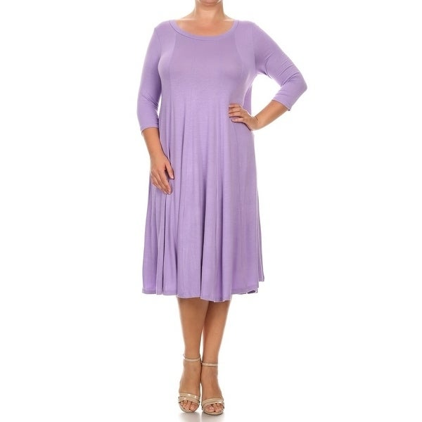 Shop Womens Plus Size Solid Color Pleated Dress On Sale Free