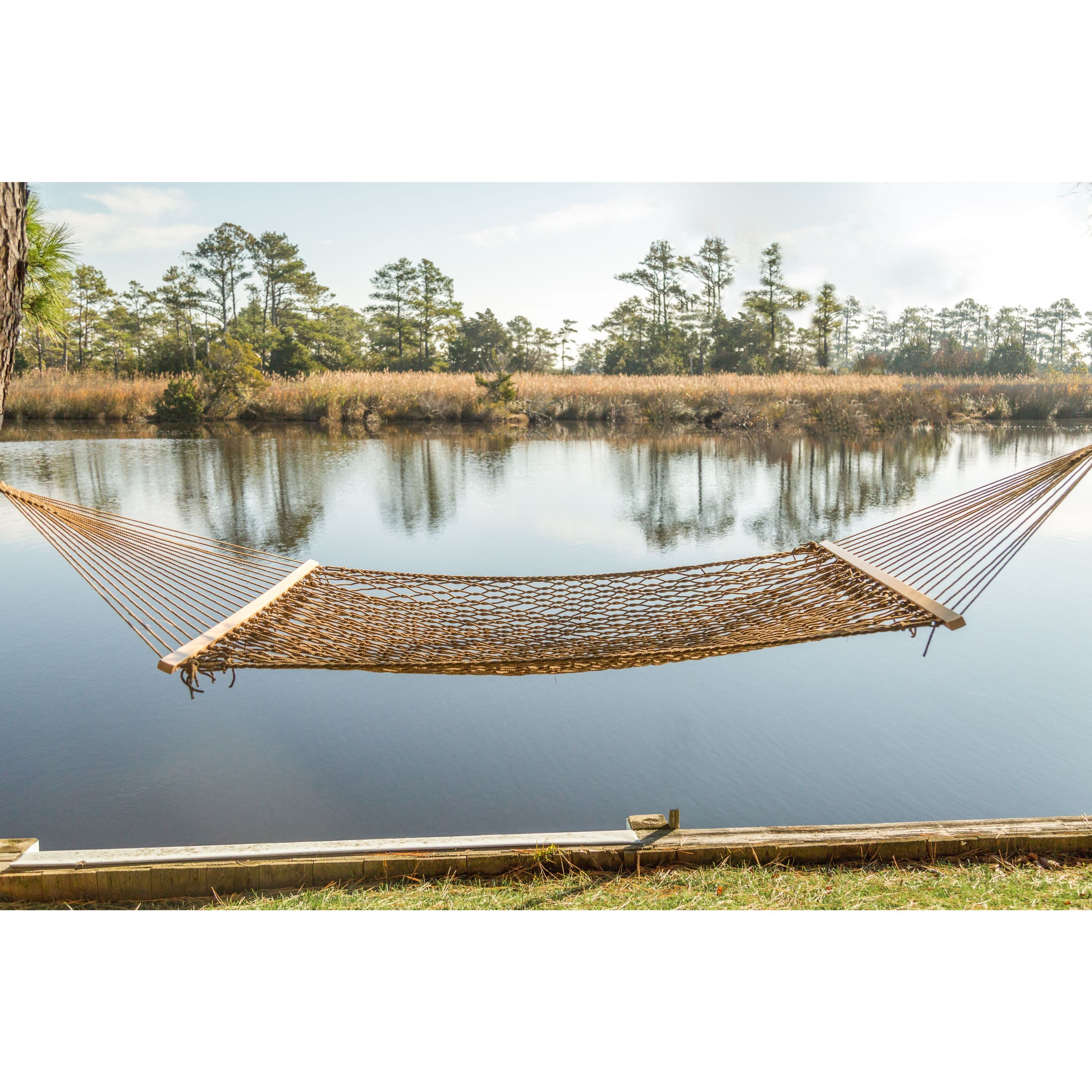 trunk swing zero rope outdoor tan woven divider main hammock room brown gravity wood living chair